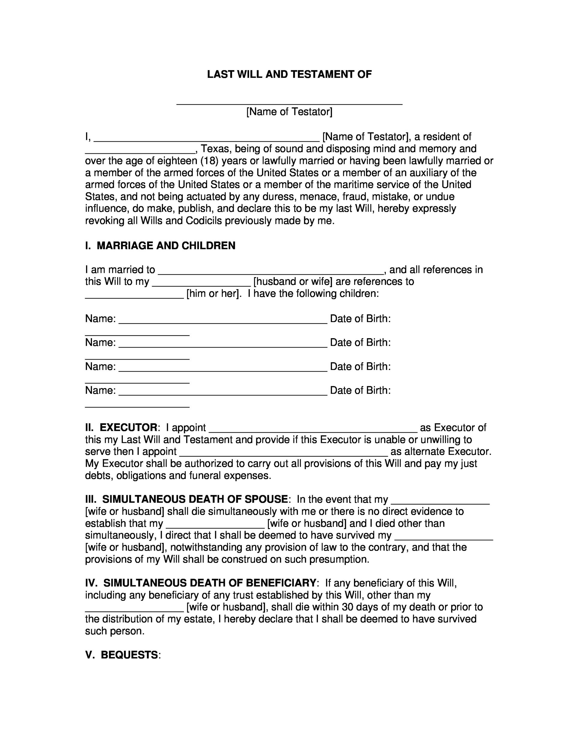 39 last will and testament forms templates template lab for Wills and testaments templates