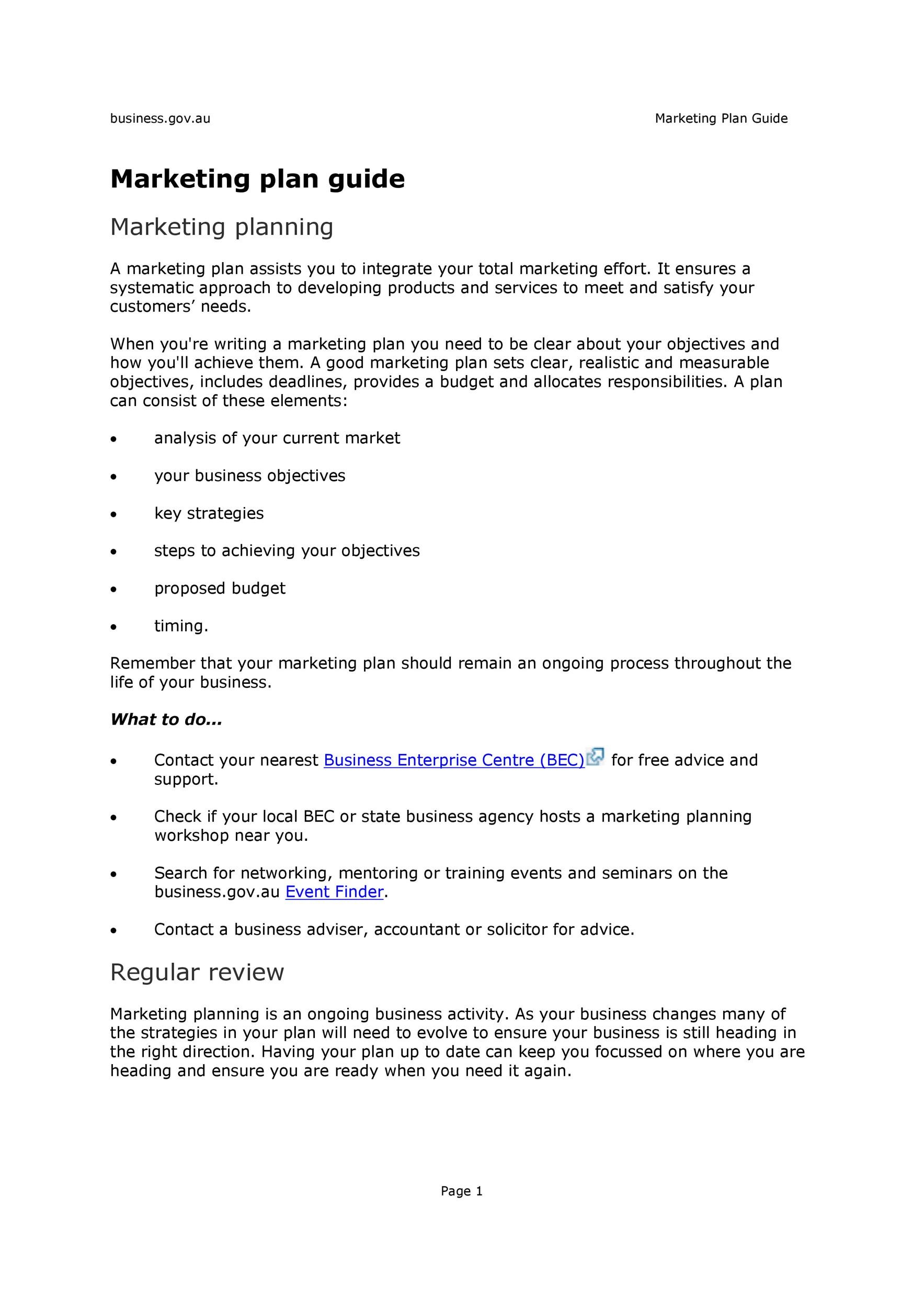 Free Marketing Plan Template 01