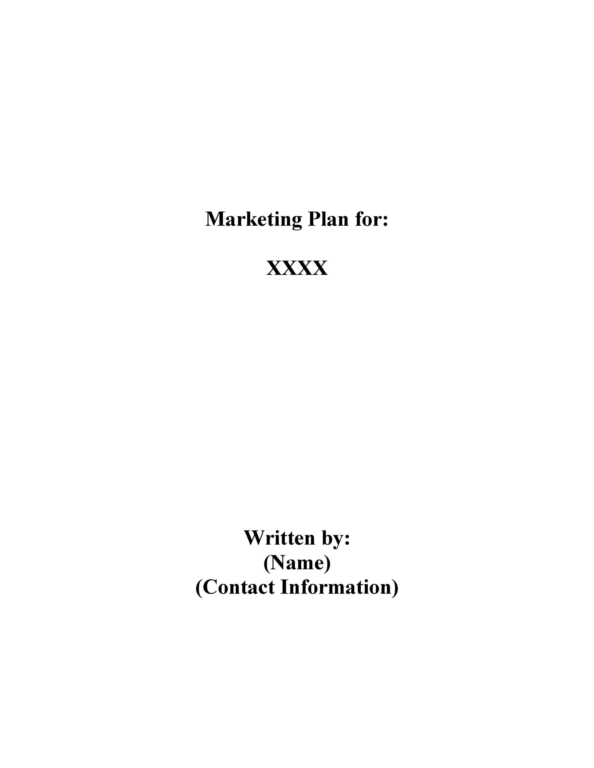 Free Marketing Plan Template 02