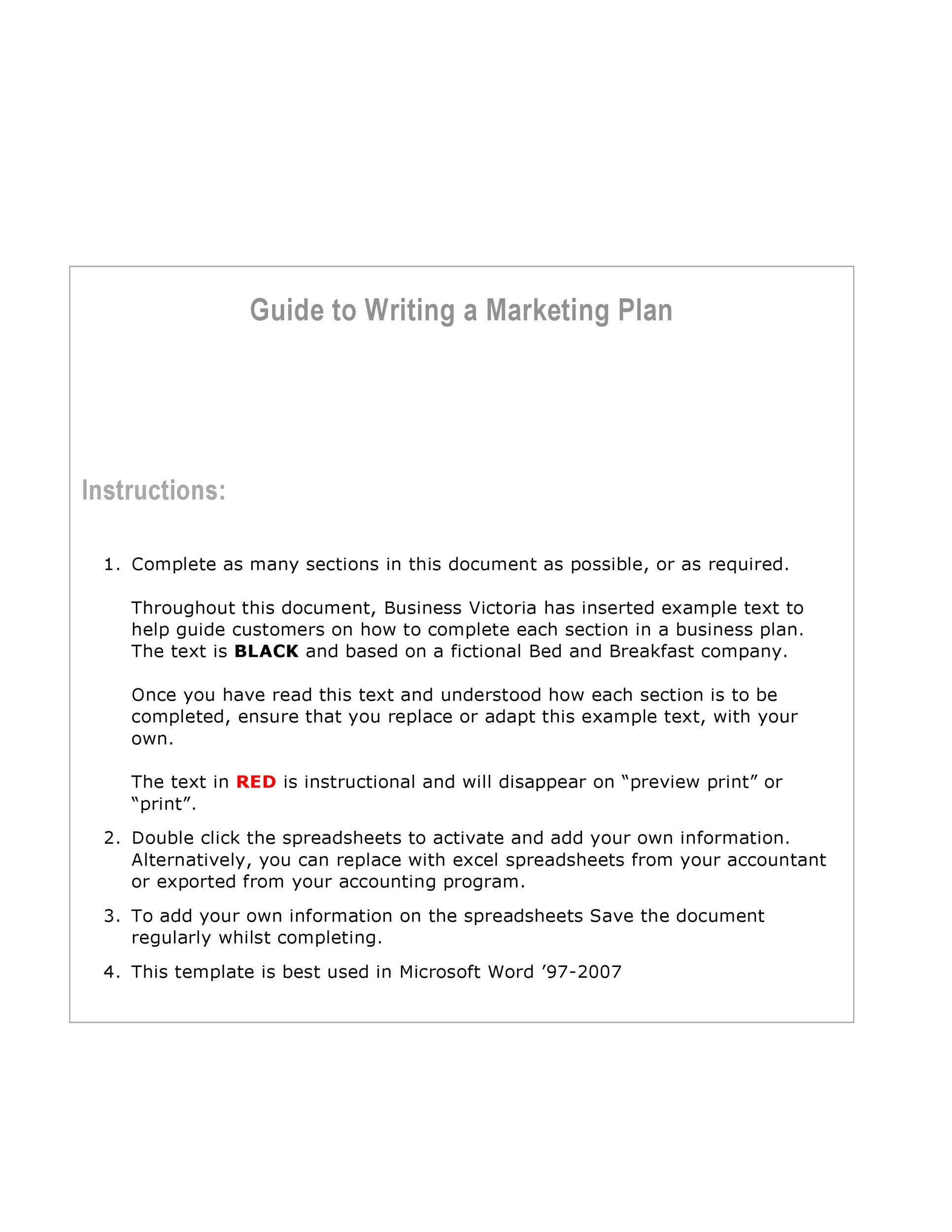 Free Marketing Plan Template 03