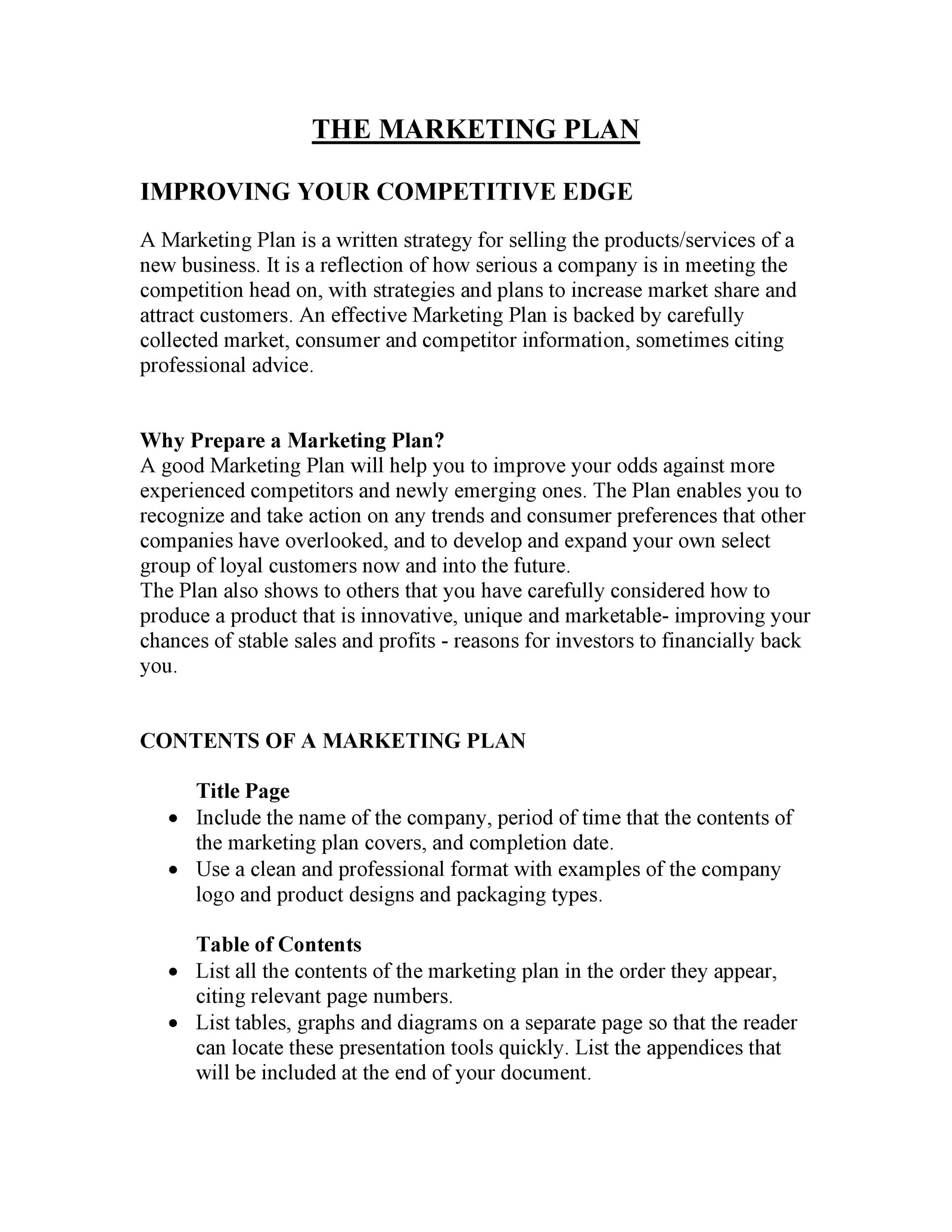 Marketing Plan Outline Template | 30 Professional Marketing Plan Templates Template Lab