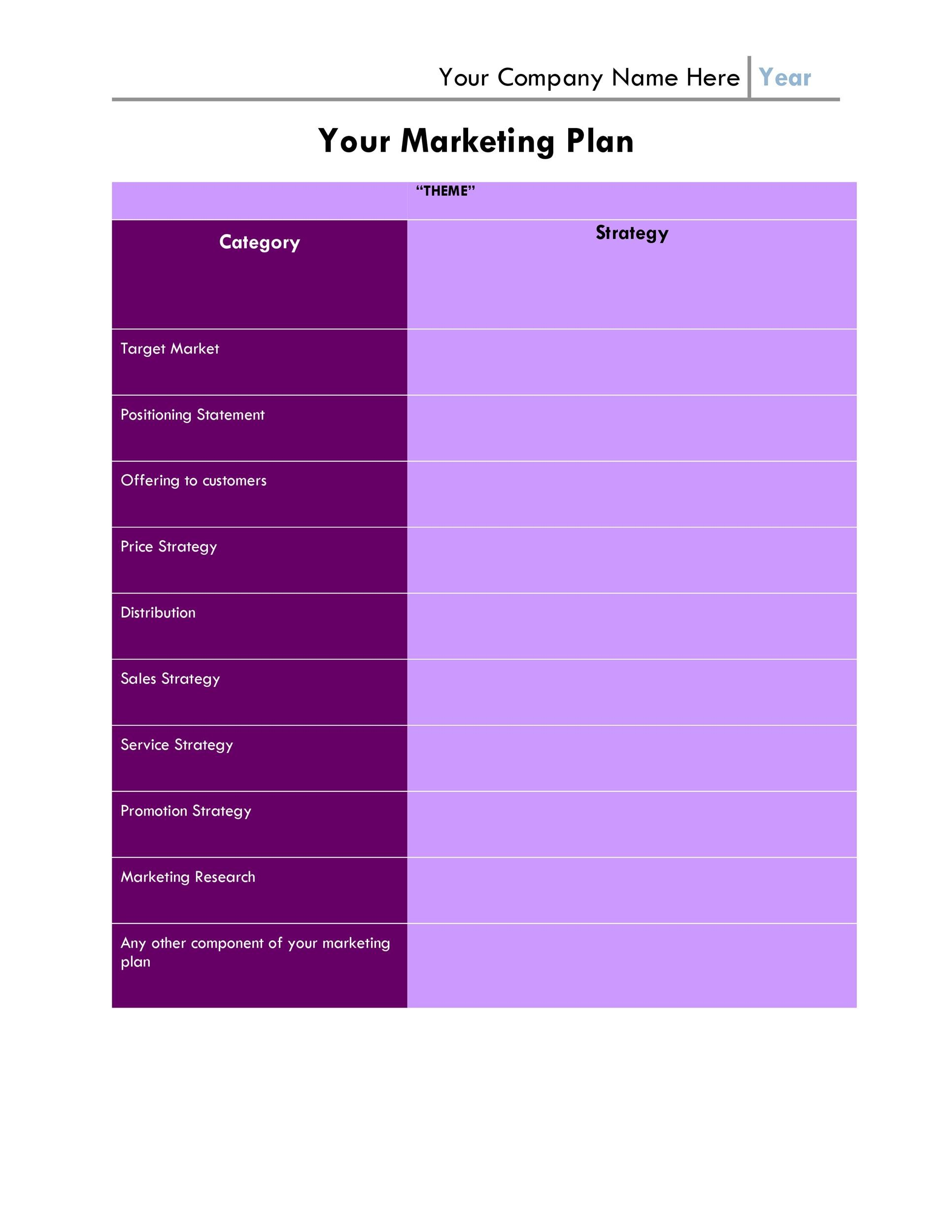 Free Marketing Plan Template 07