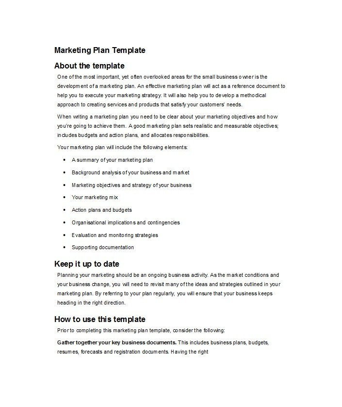 Free Marketing Plan Template 09