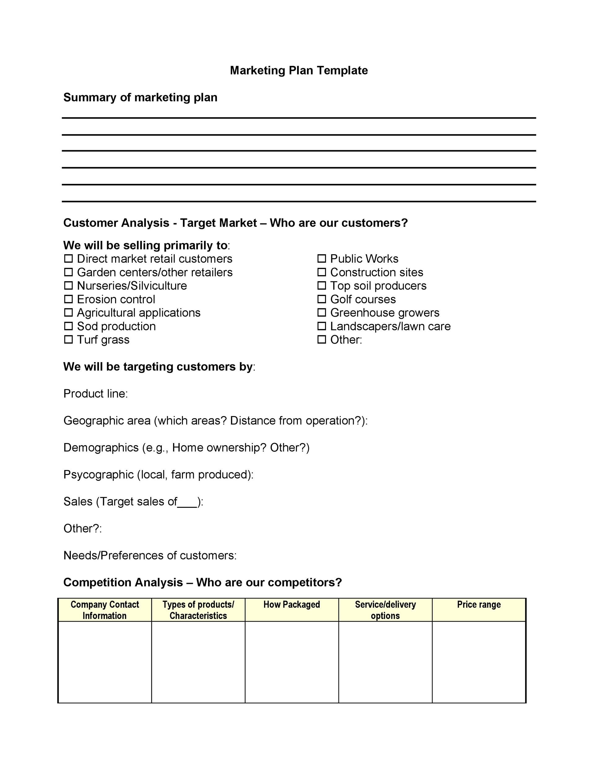 Free Marketing Plan Template 18