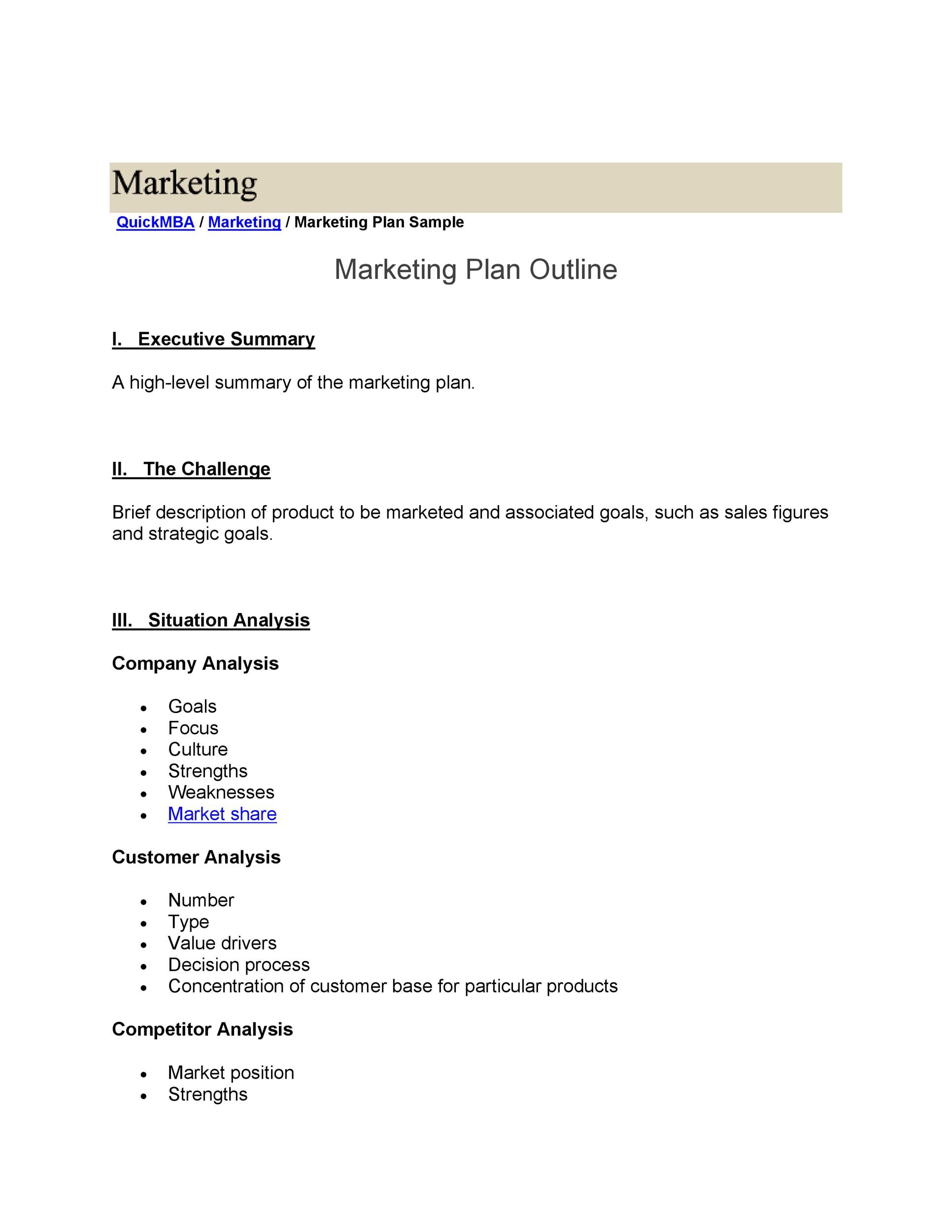 Free Marketing Plan Template 25