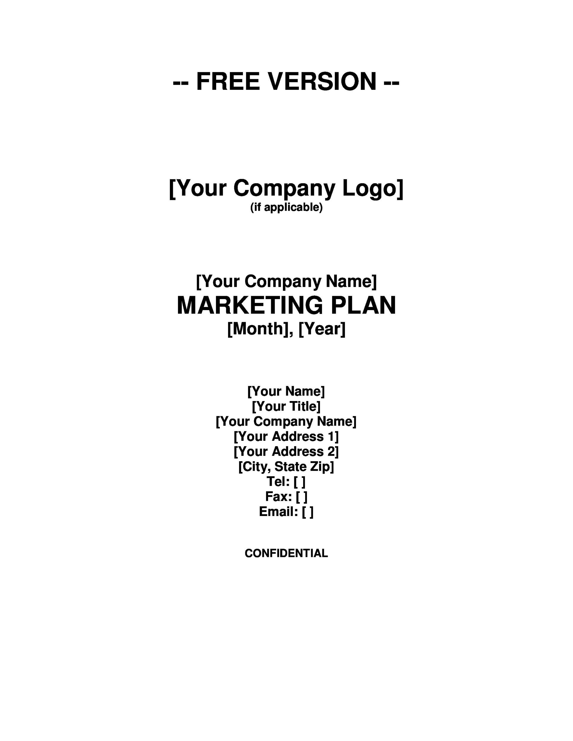 Free Marketing Plan Template 28