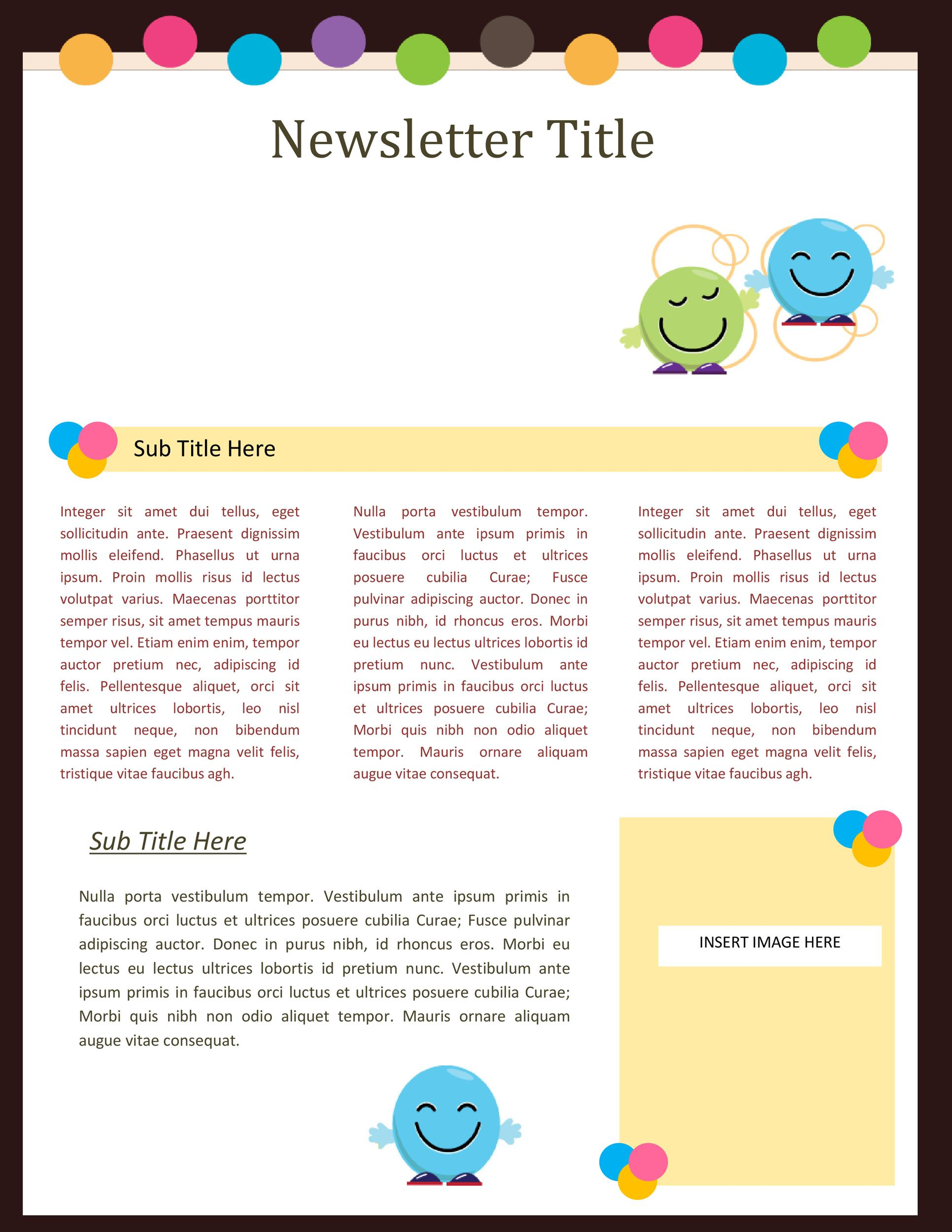 Printable Newsletter Template 06  Business Newsletter Templates Free Download