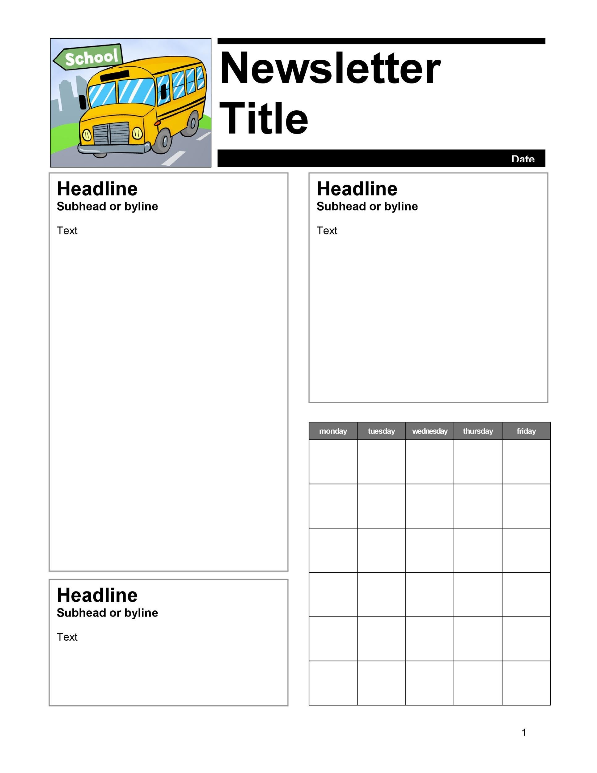 50 FREE Newsletter Templates for Work School and Classroom – Example of Newsletter Templates
