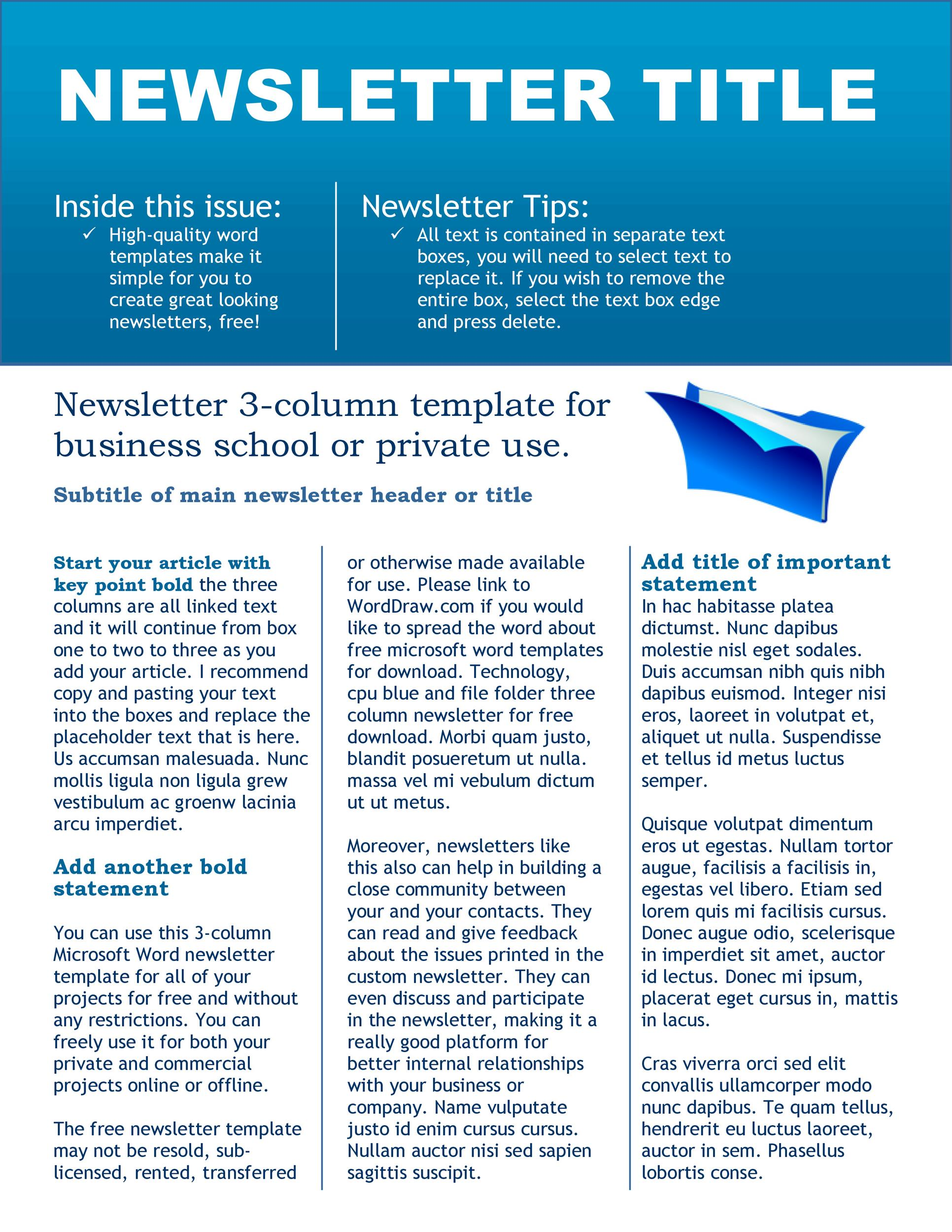 50 FREE Newsletter Templates for Work School and Classroom – Newsletter Templates Free Word