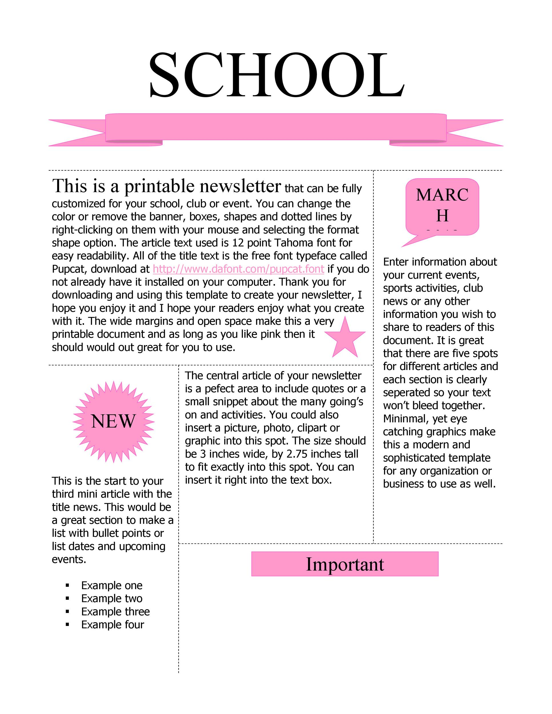 FREE Newsletter Templates For Work School And Classroom - Free newsletter templates for teachers