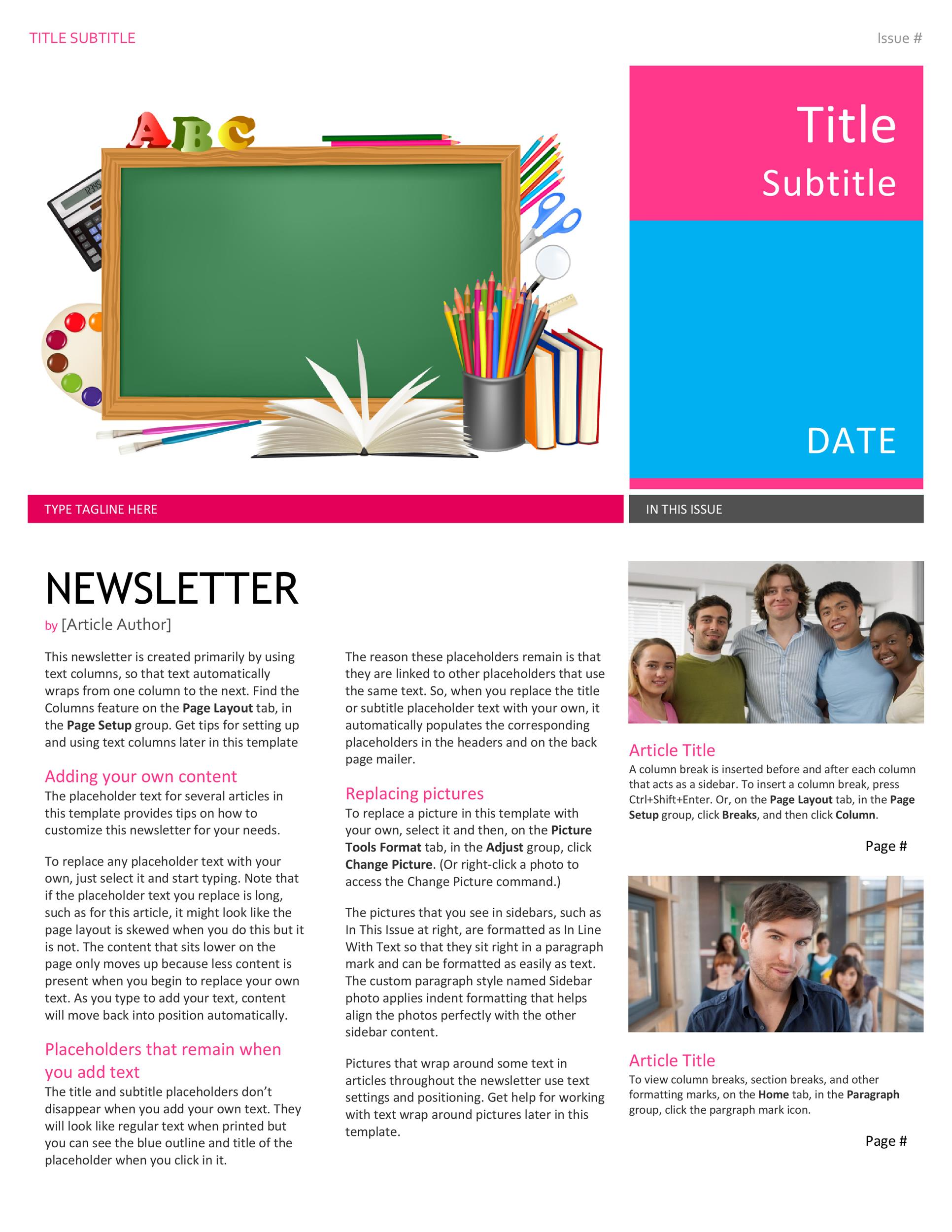 50 free newsletter templates for work school and classroom
