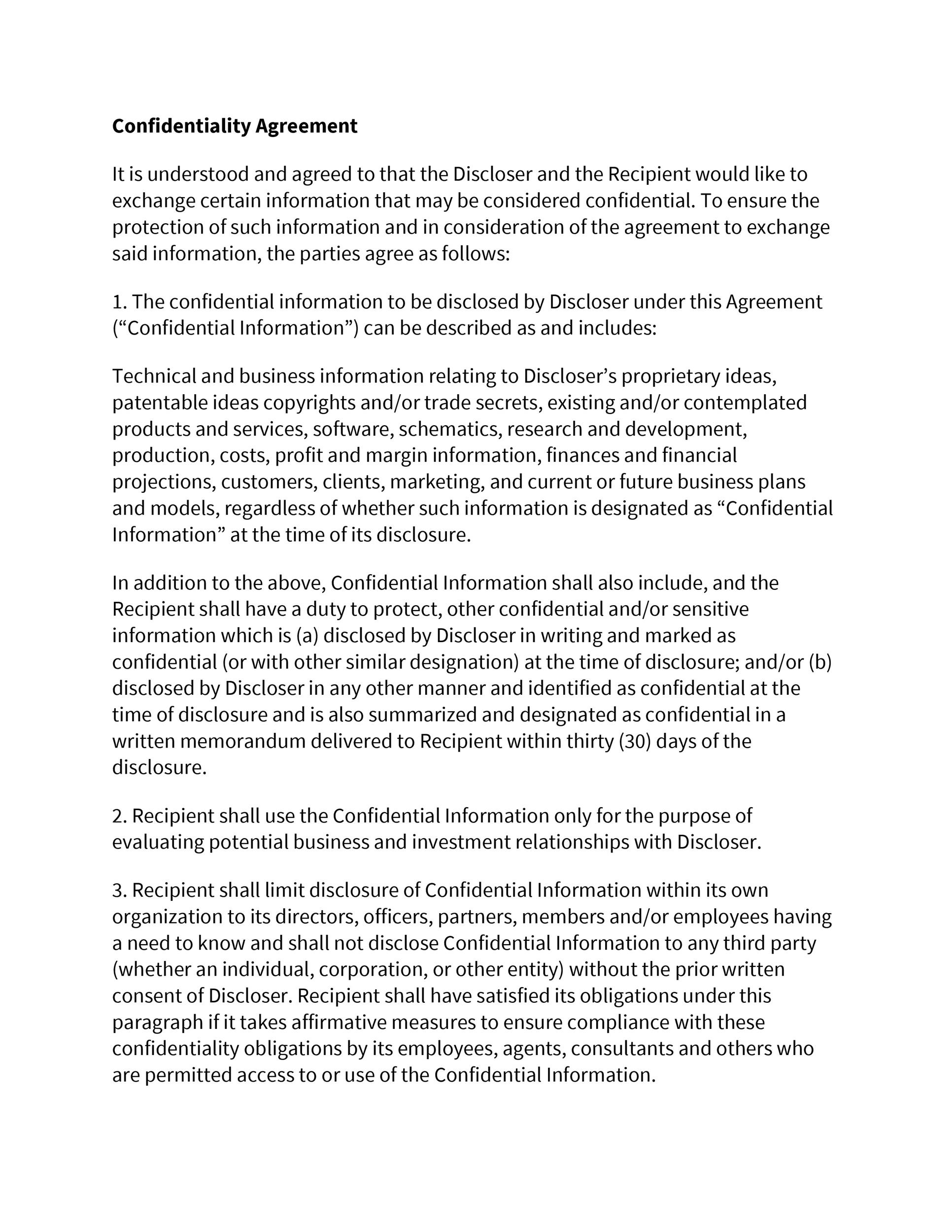 Printable Non Disclosure Agreement Template 01