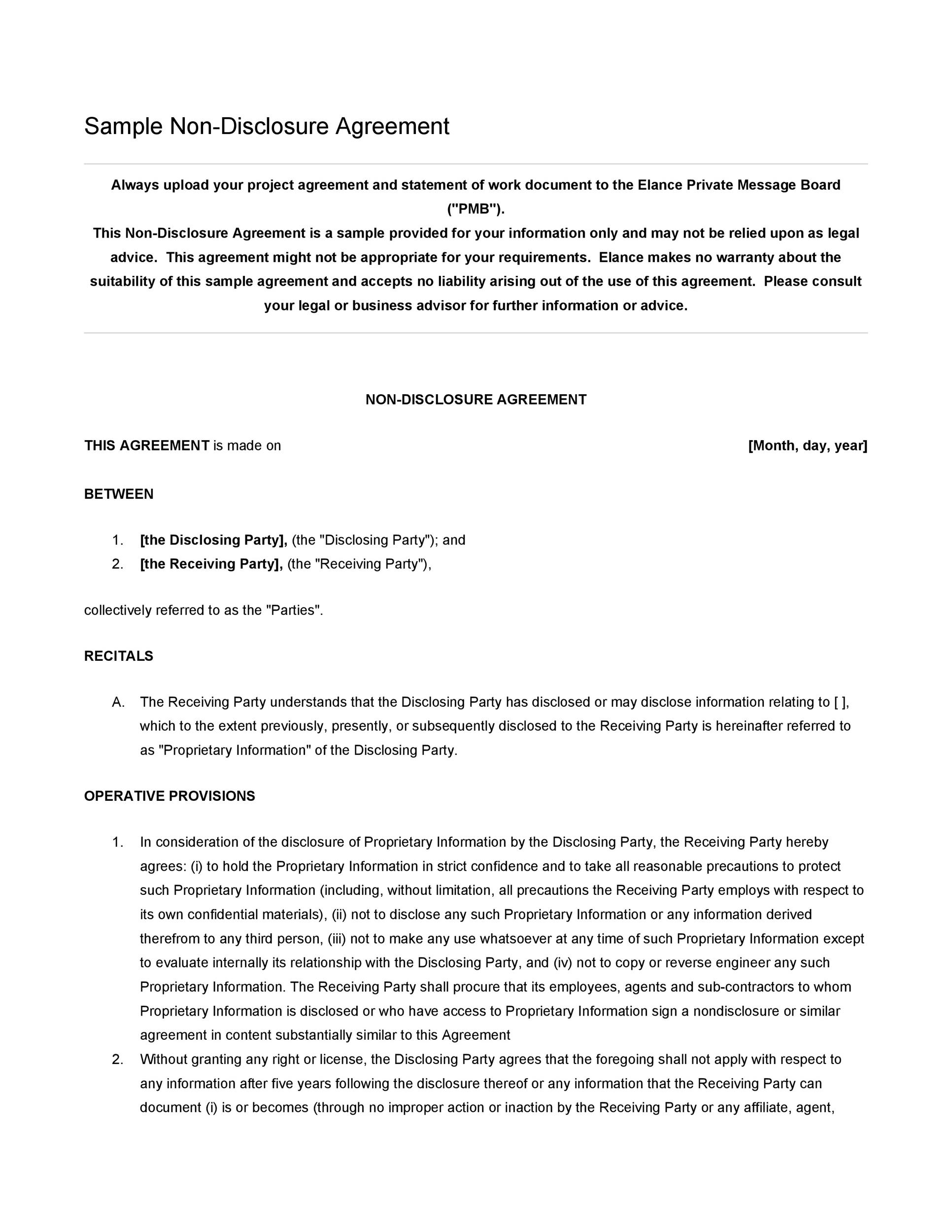 Printable Non Disclosure Agreement Template 02  Free Printable Non Disclosure Agreement
