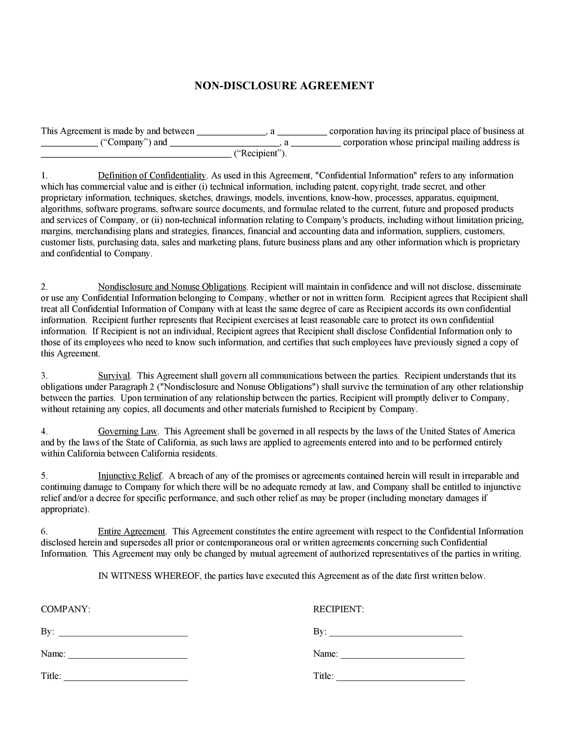 40 non disclosure agreement templates samples forms for Short non disclosure agreement template