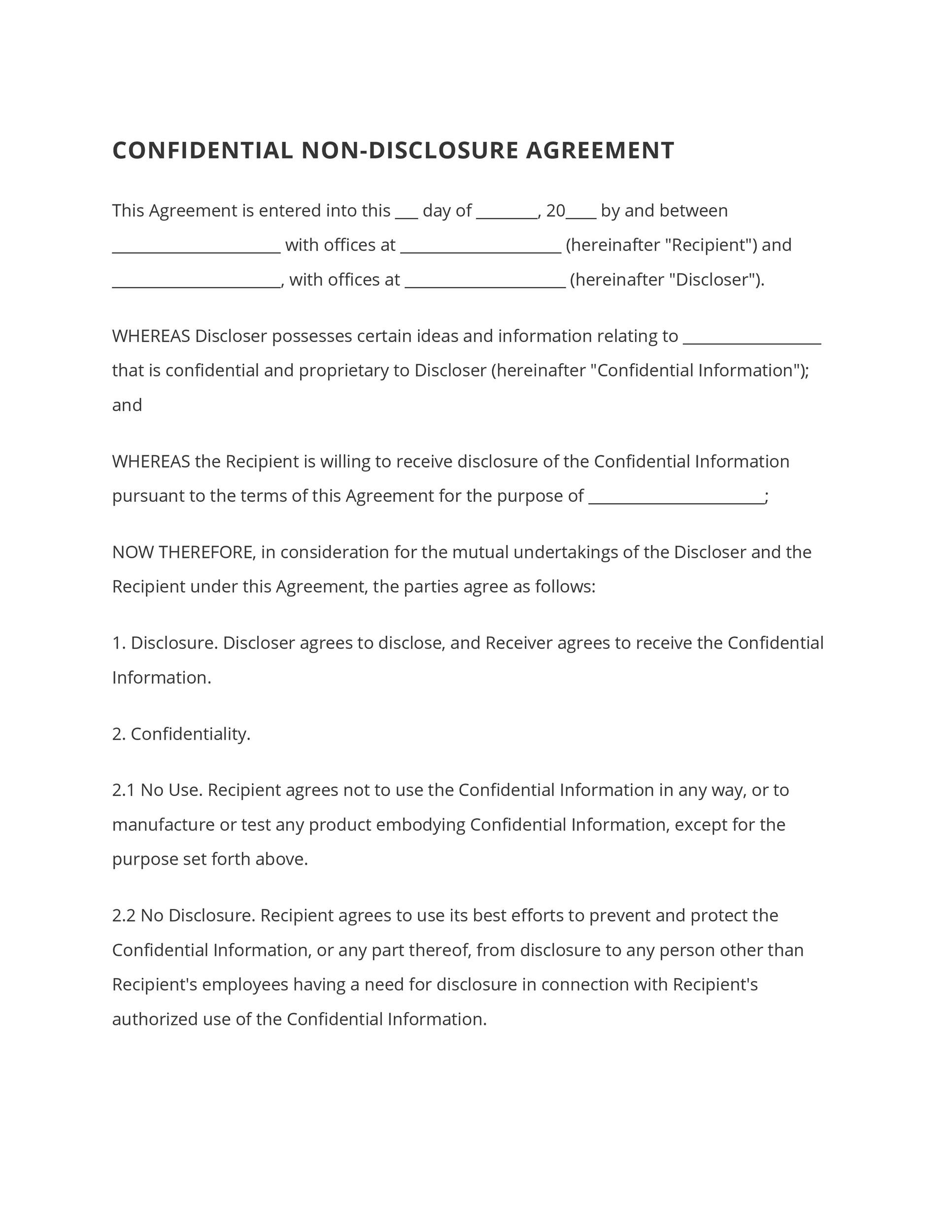 40 Non Disclosure Agreement Templates Samples Forms Template Lab – Sample Non Disclosure Agreement