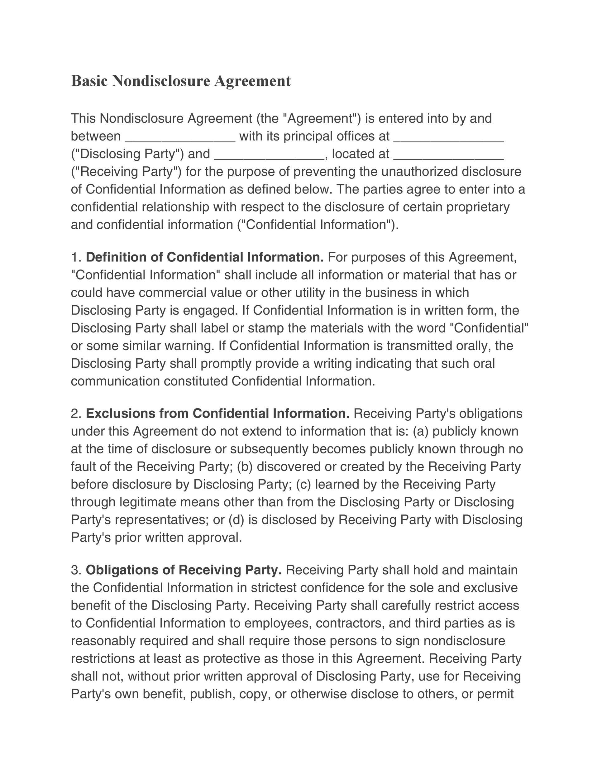 free non disclosure agreement pdf