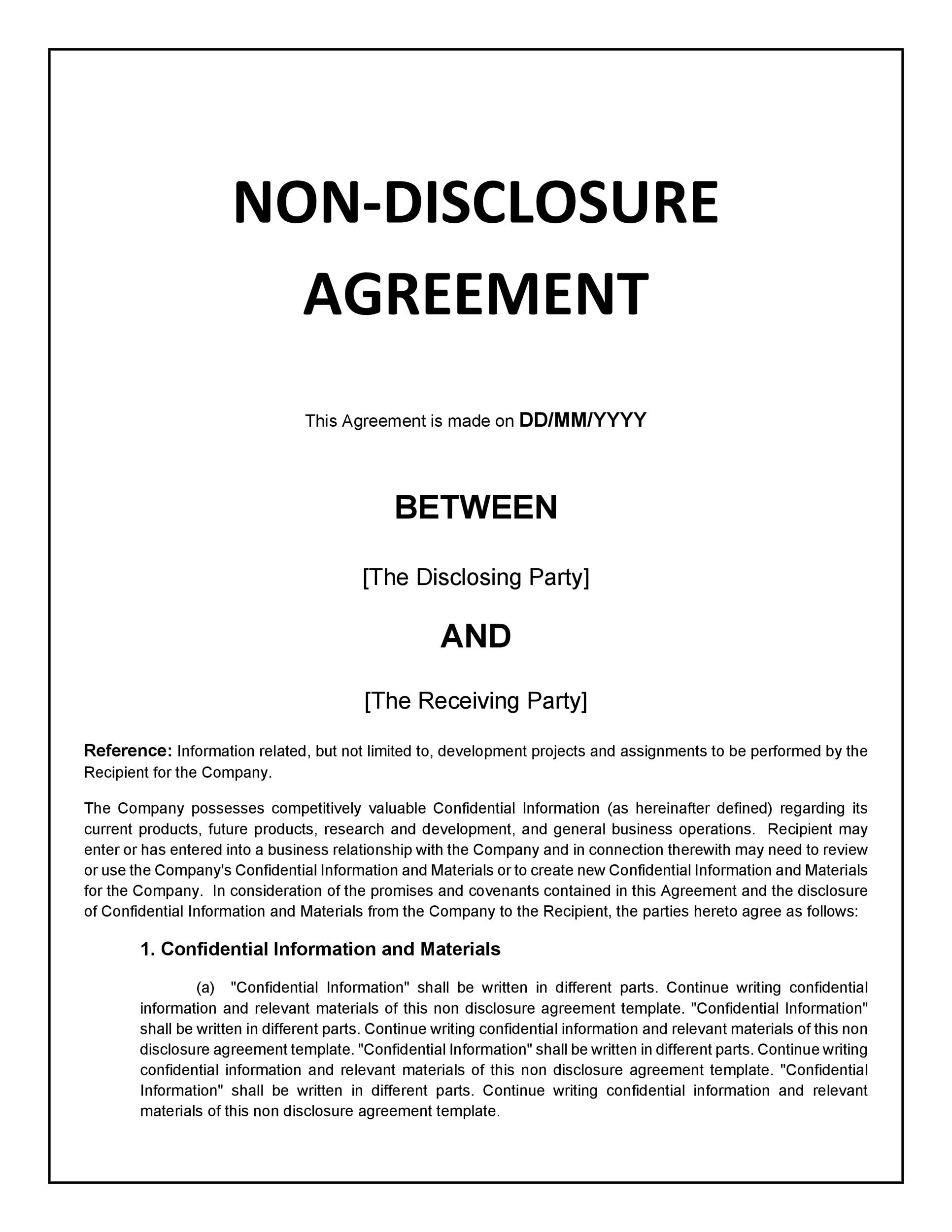 40 non disclosure agreement templates samples forms for Basic nda template
