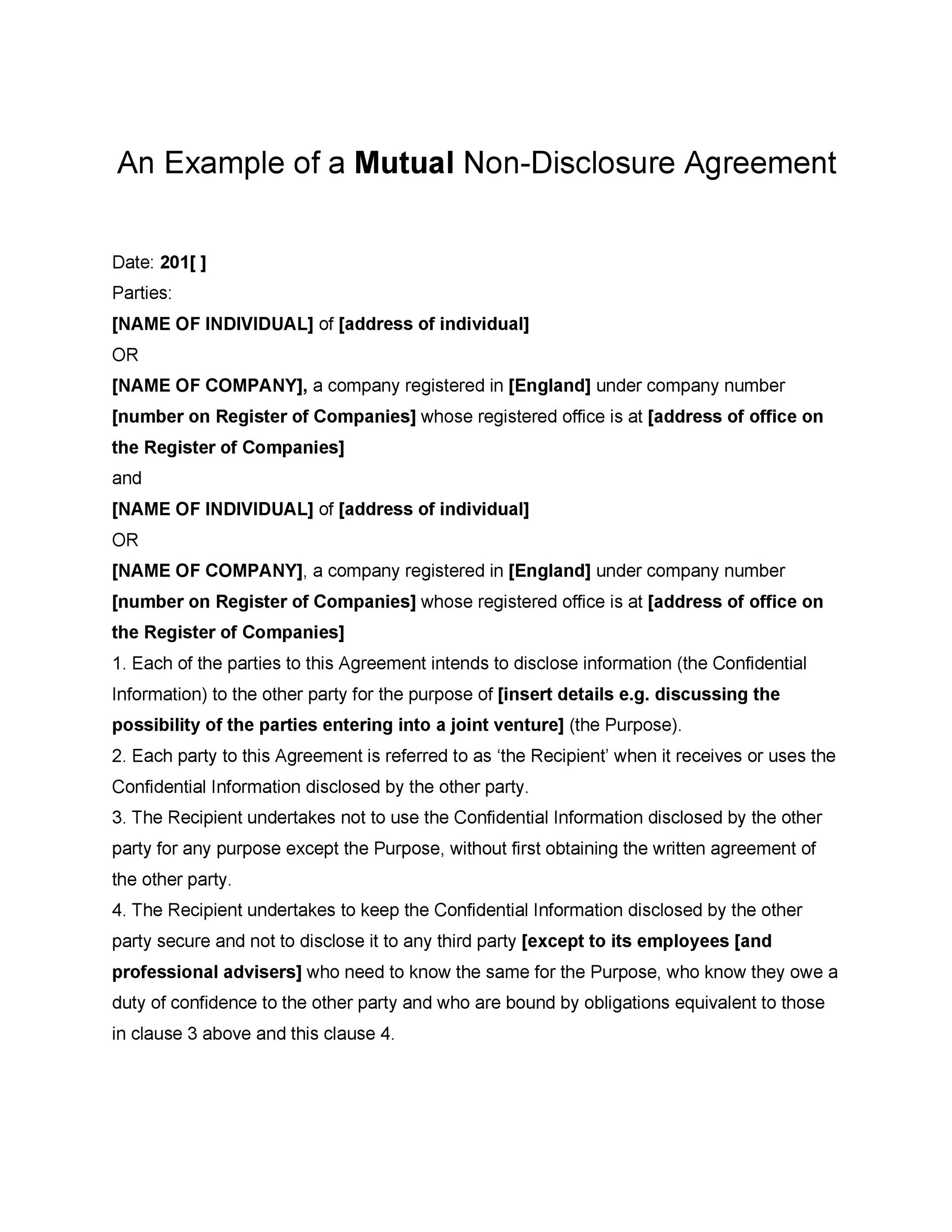 Free Non Disclosure Agreement Template 13