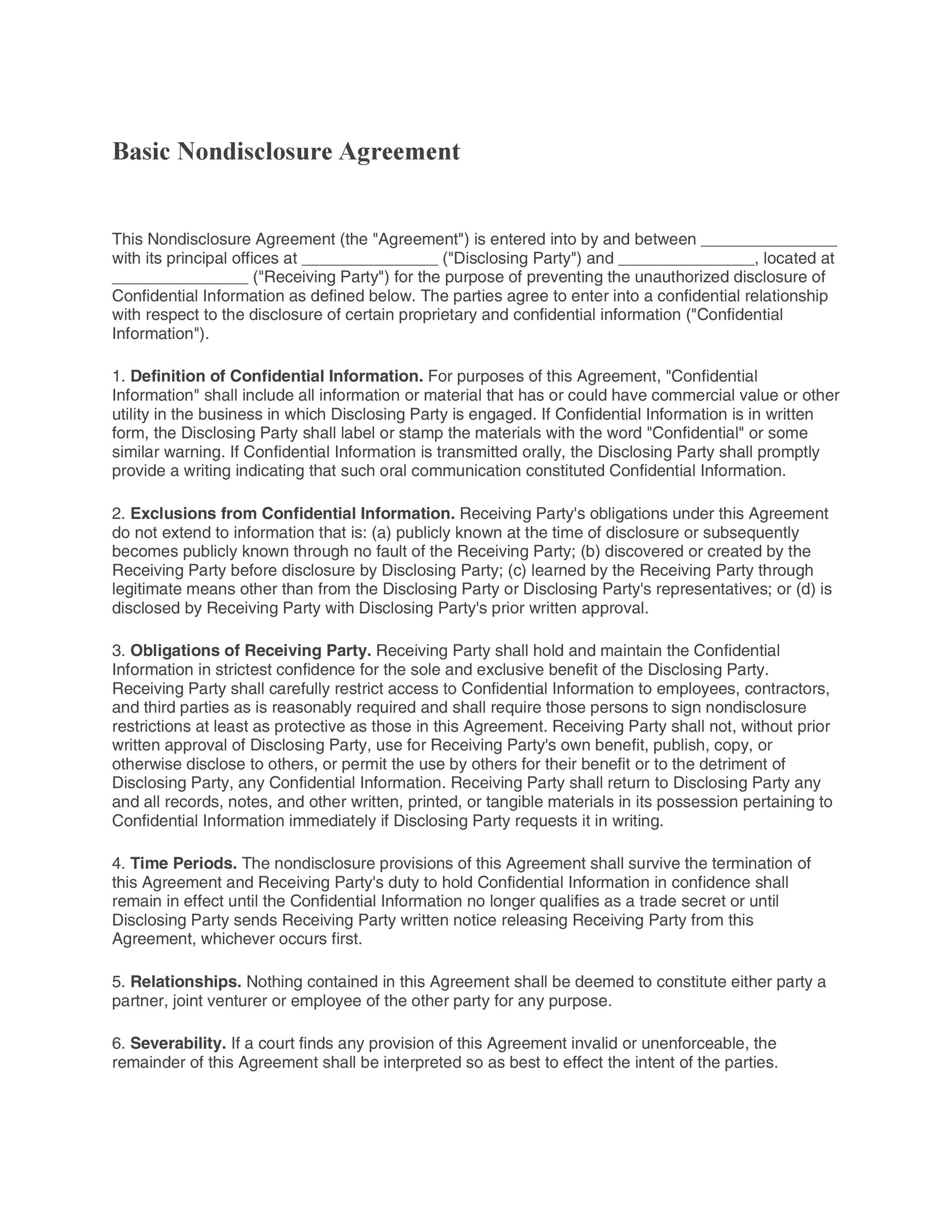 40 Non Disclosure Agreement Templates Samples Forms Template Lab – Simple Vendor Agreement Template