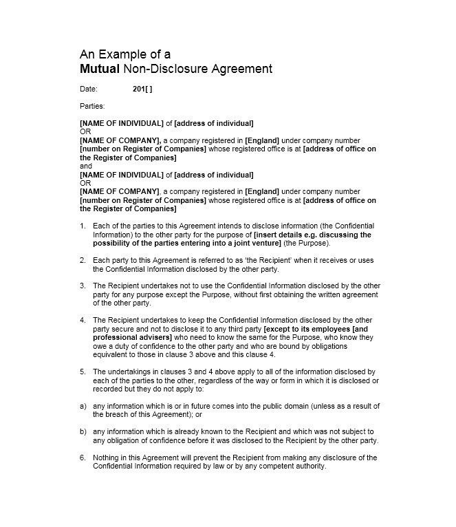 40 Non Disclosure Agreement Templates Samples Forms Template Lab
