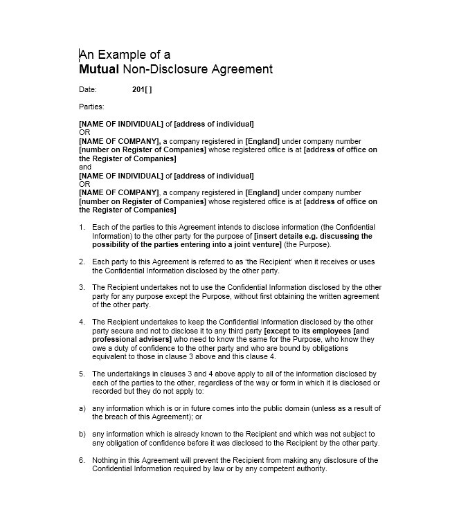 Free Non Disclosure Agreement Template 19