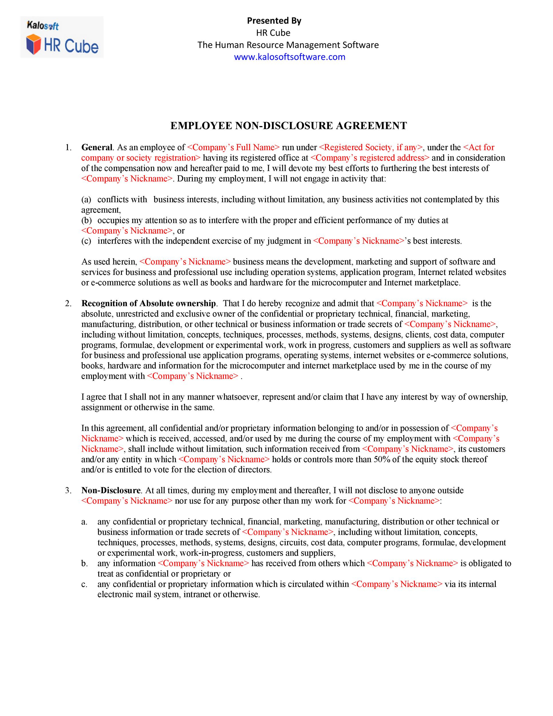 Hr Contract Template Sample Generic Human Resources