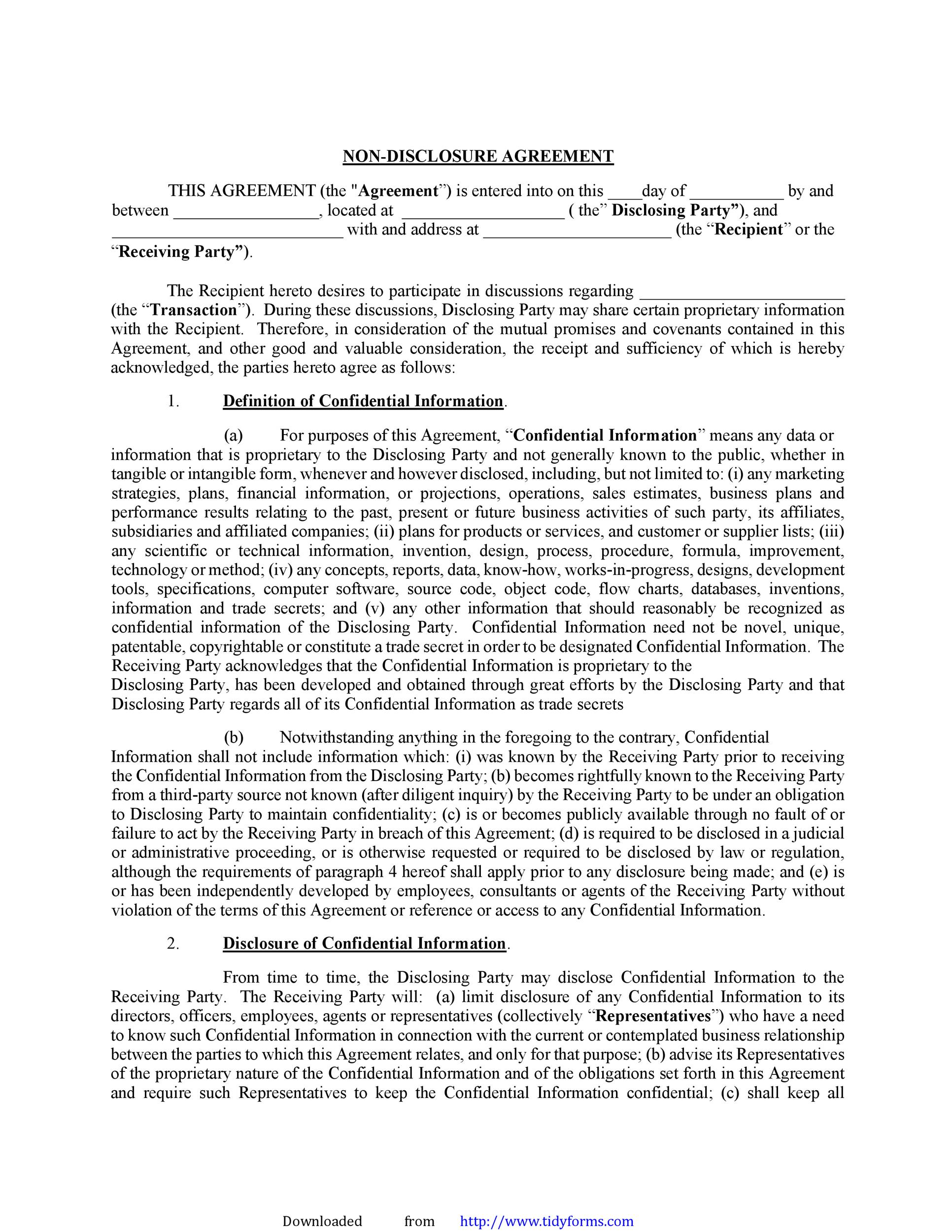 Free Non Disclosure Agreement Template 25