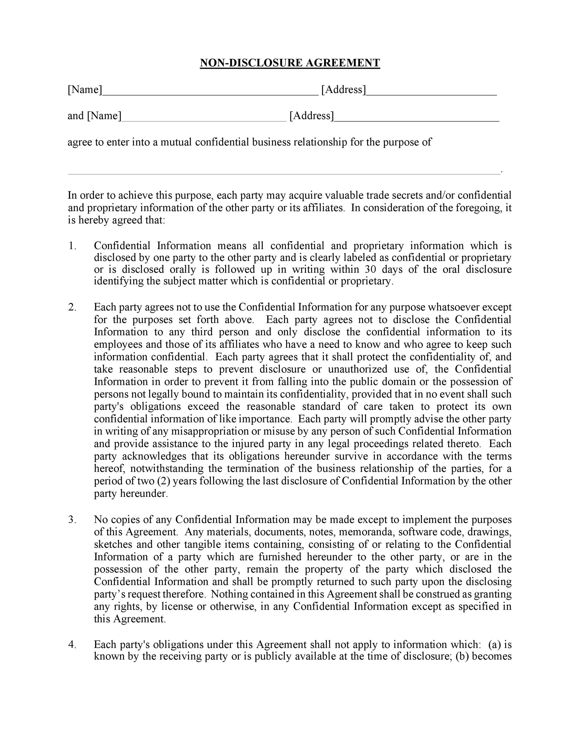 Free Non Disclosure Agreement Template 29