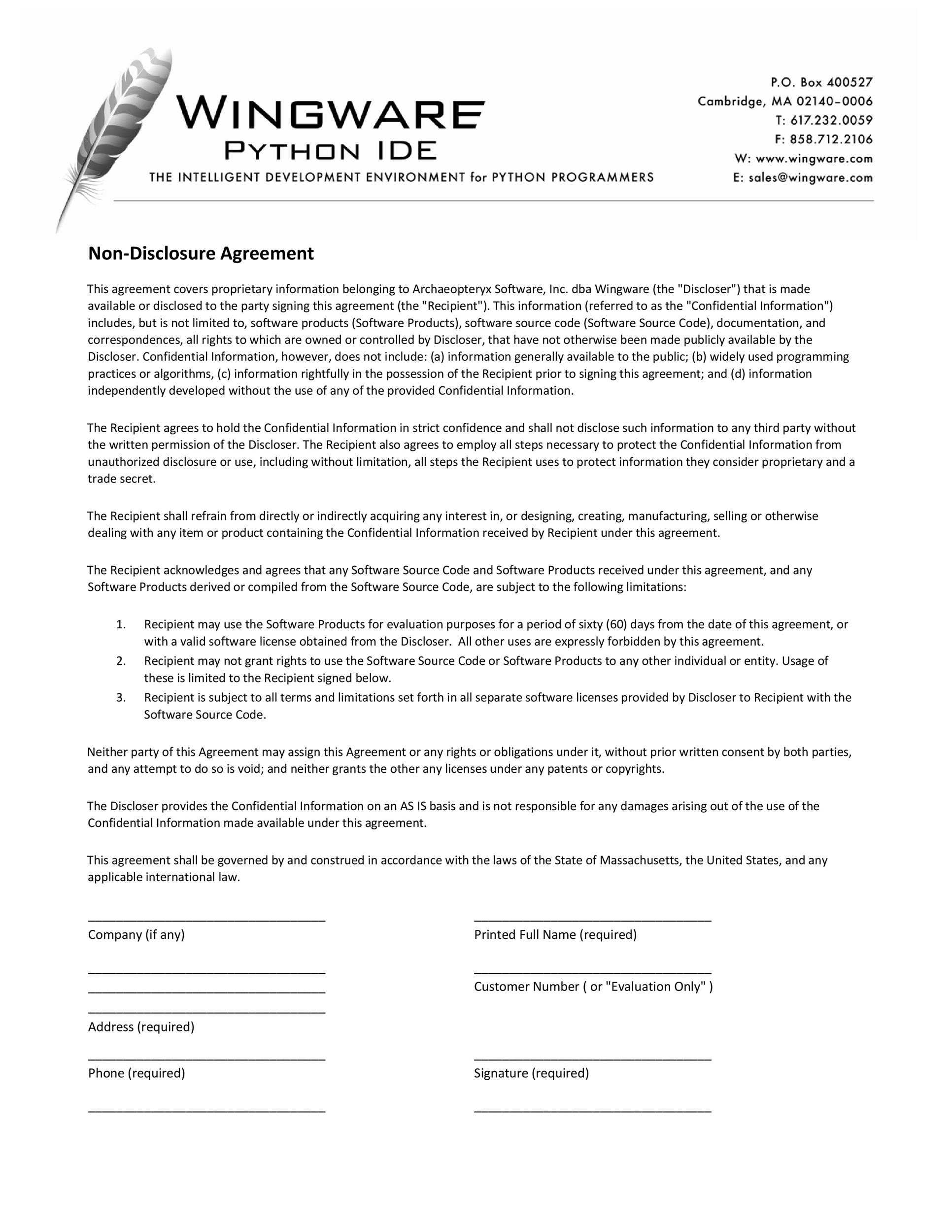 Free Non Disclosure Agreement Template 30