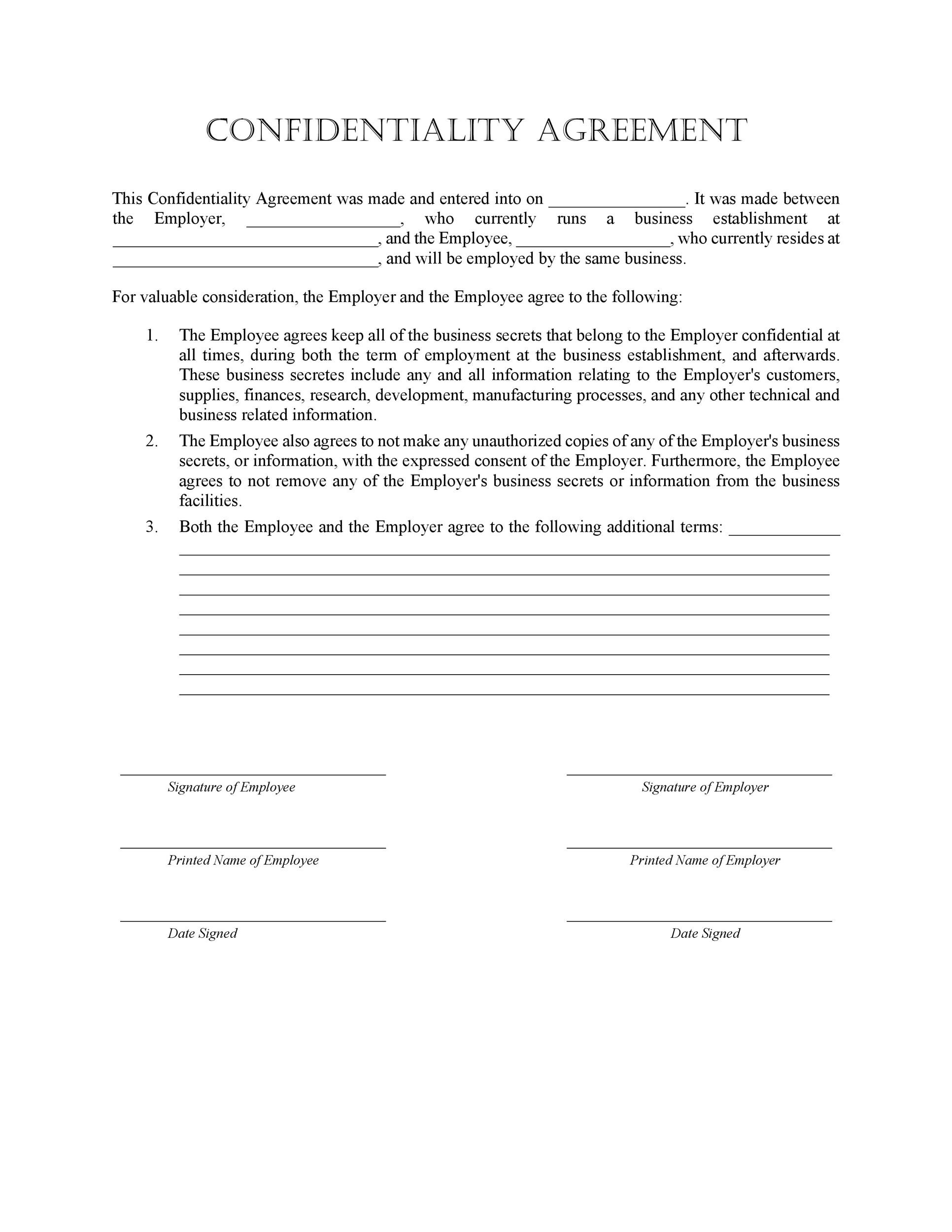 Sample Employee Confidentiality Agreement NonDisclosure