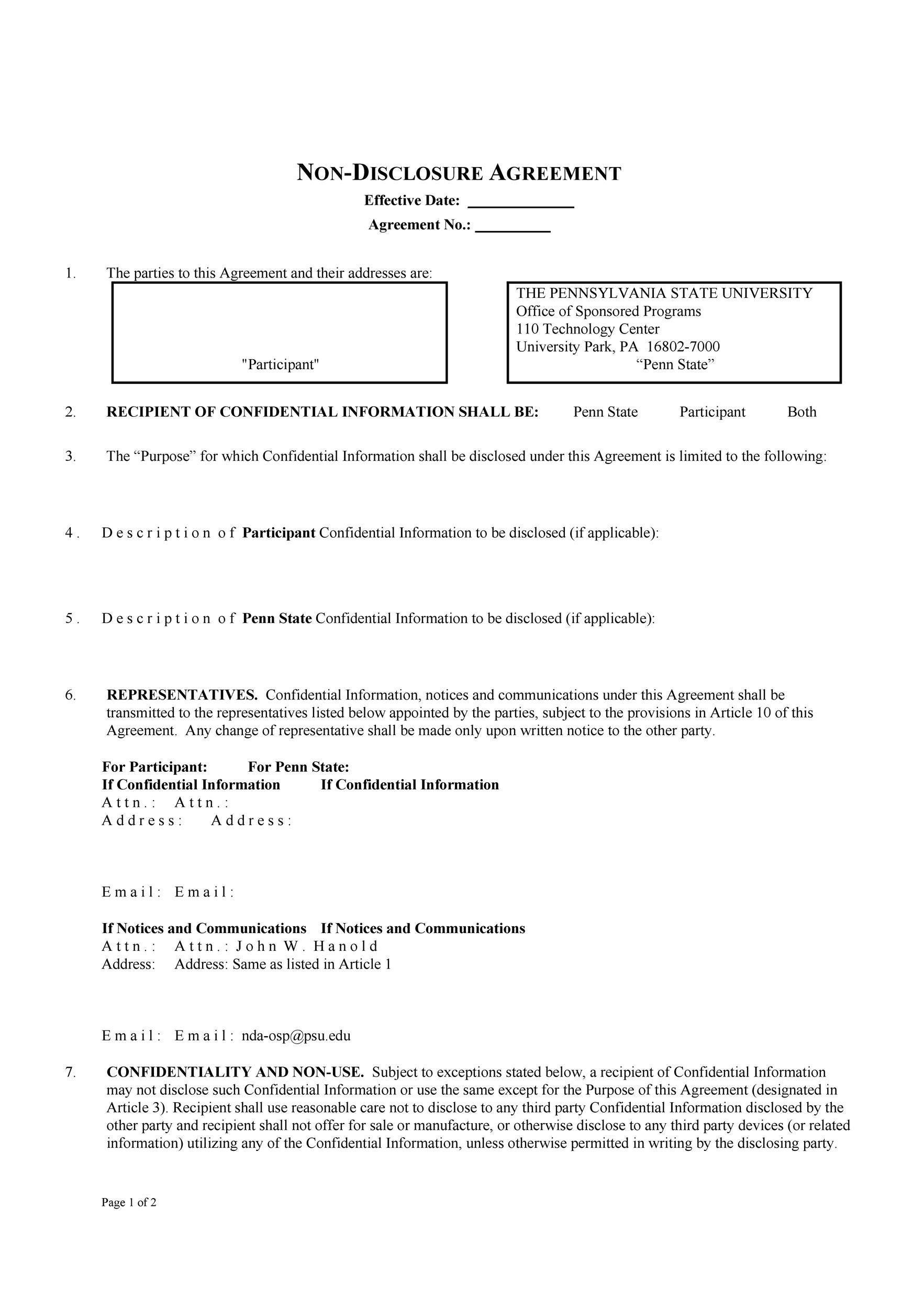Free Non Disclosure Agreement Template 34