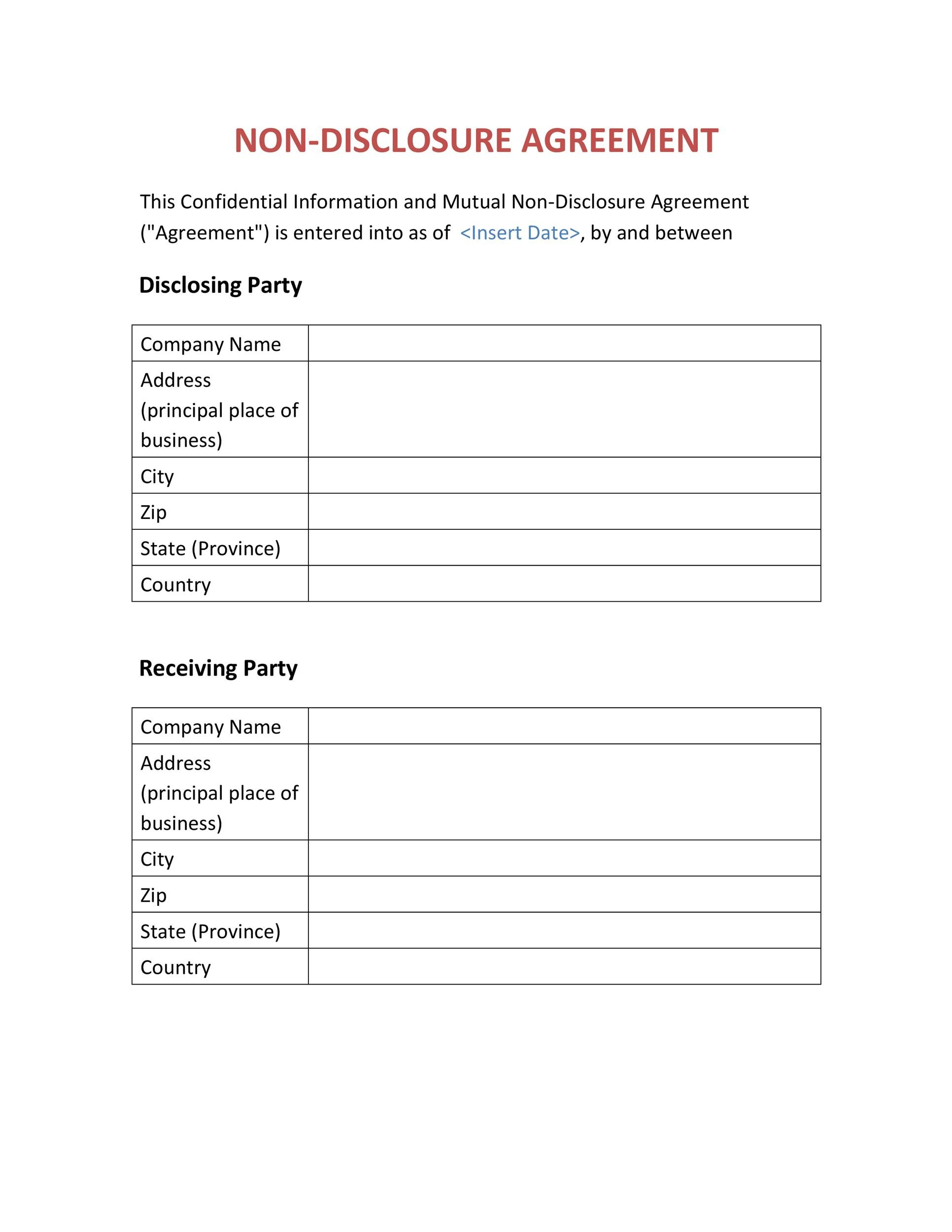 Non Disclosure Agreement Templates Samples  Forms  Template Lab