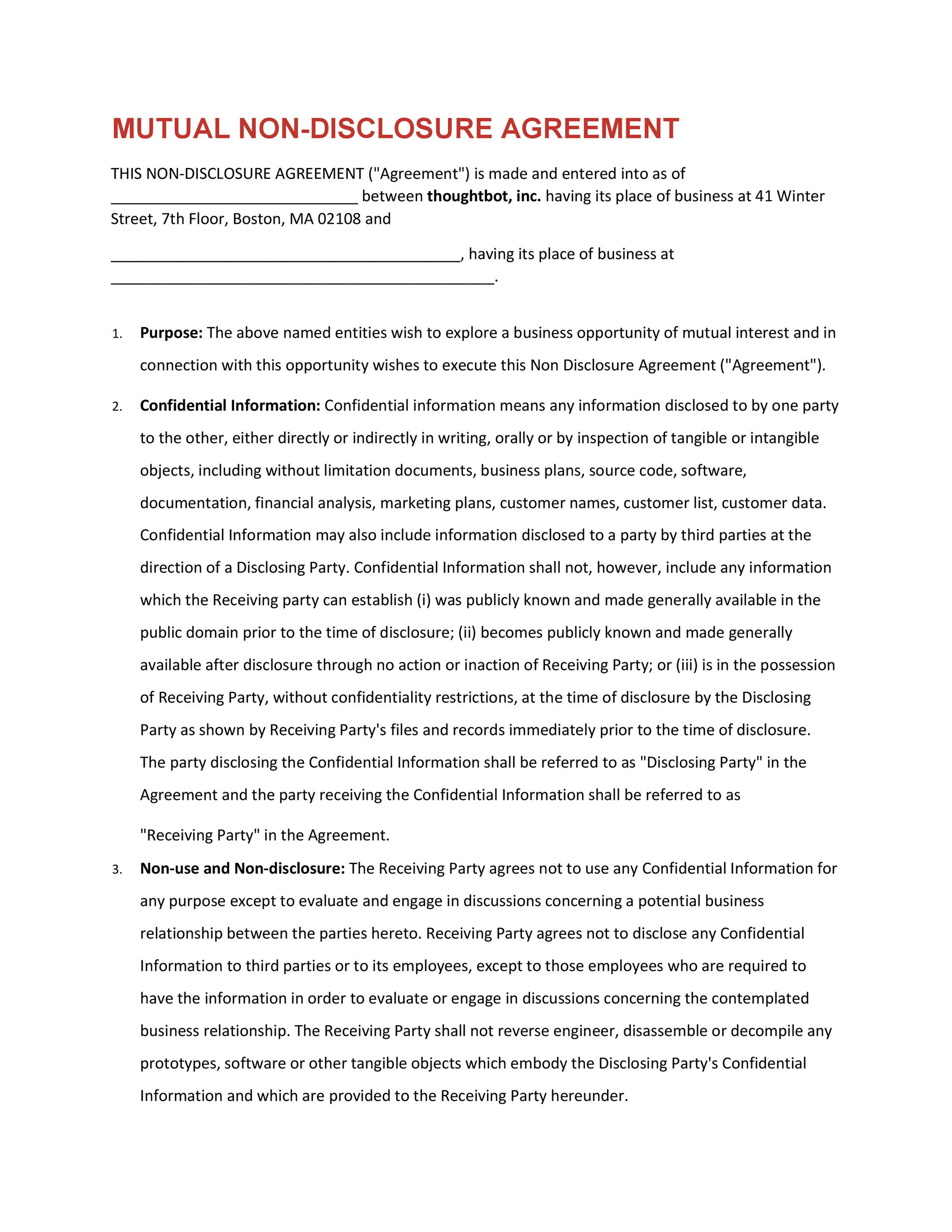 Free Non Disclosure Agreement Template 36