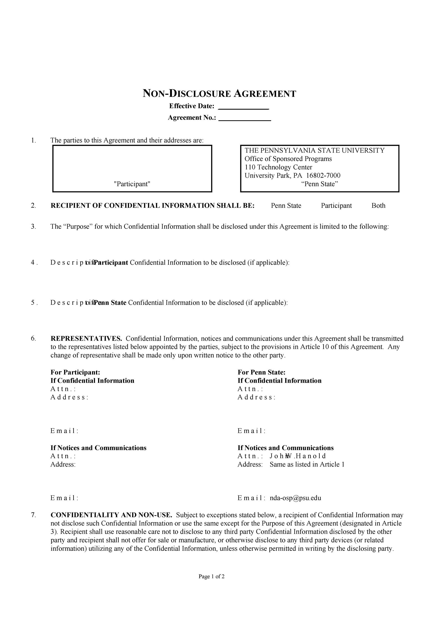 Free Non Disclosure Agreement Template 37