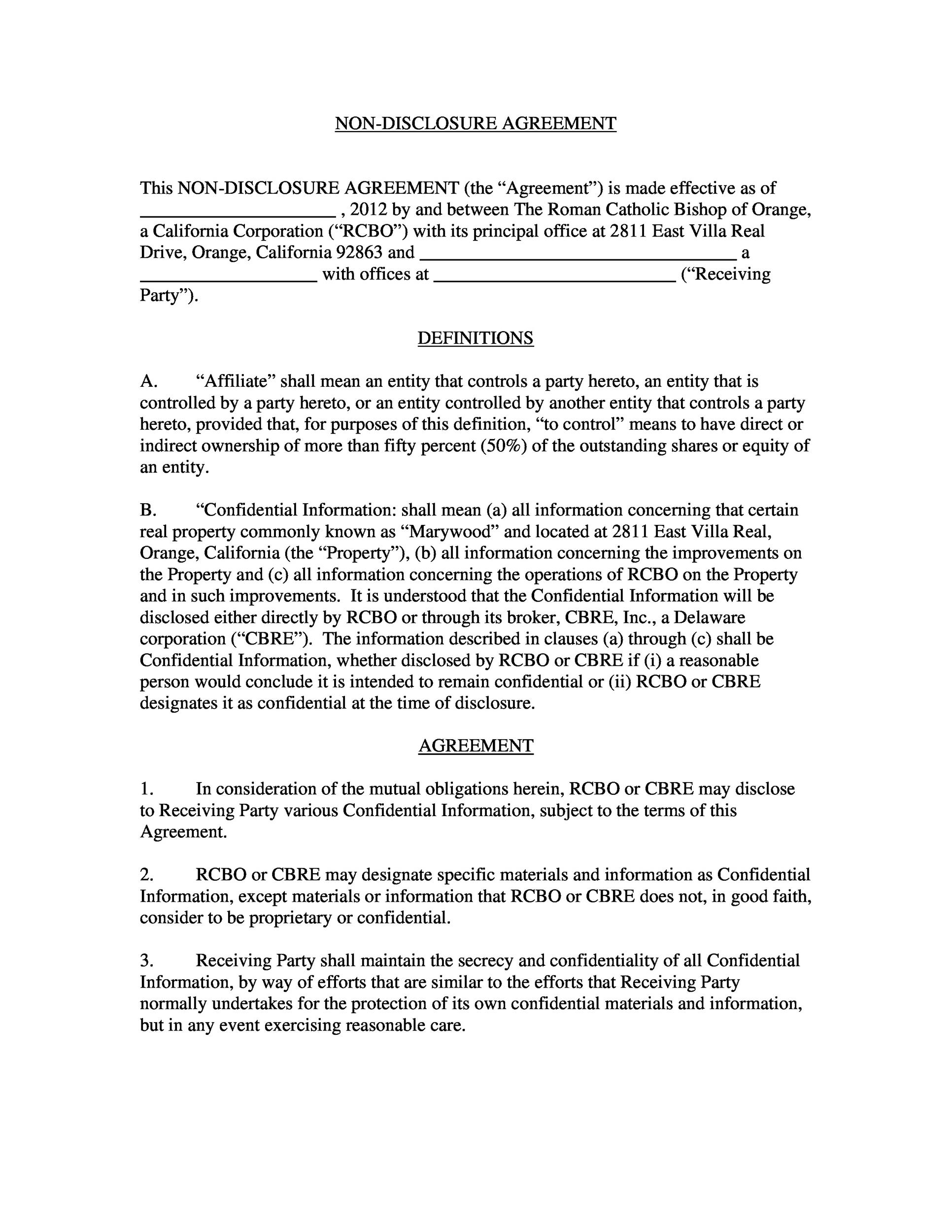 Free Non Disclosure Agreement Template 38