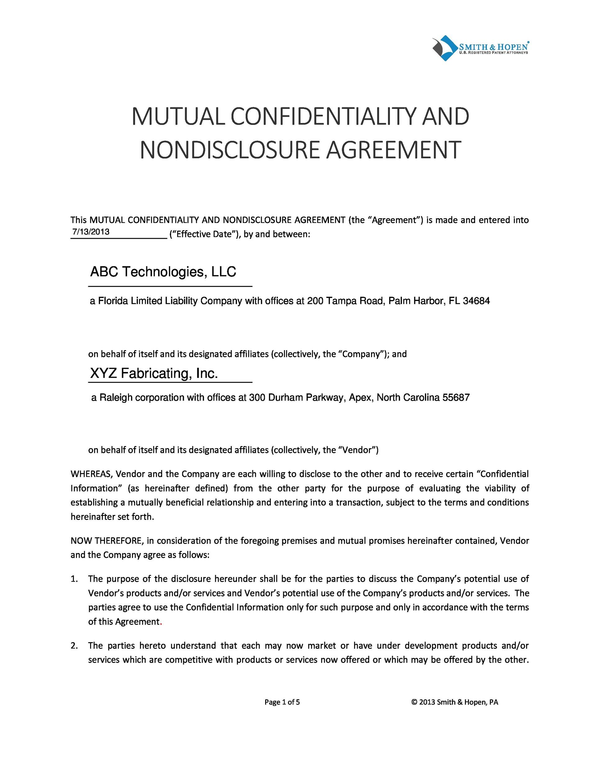 Printable Non Disclosure Agreement Template 40  Nda Template Word