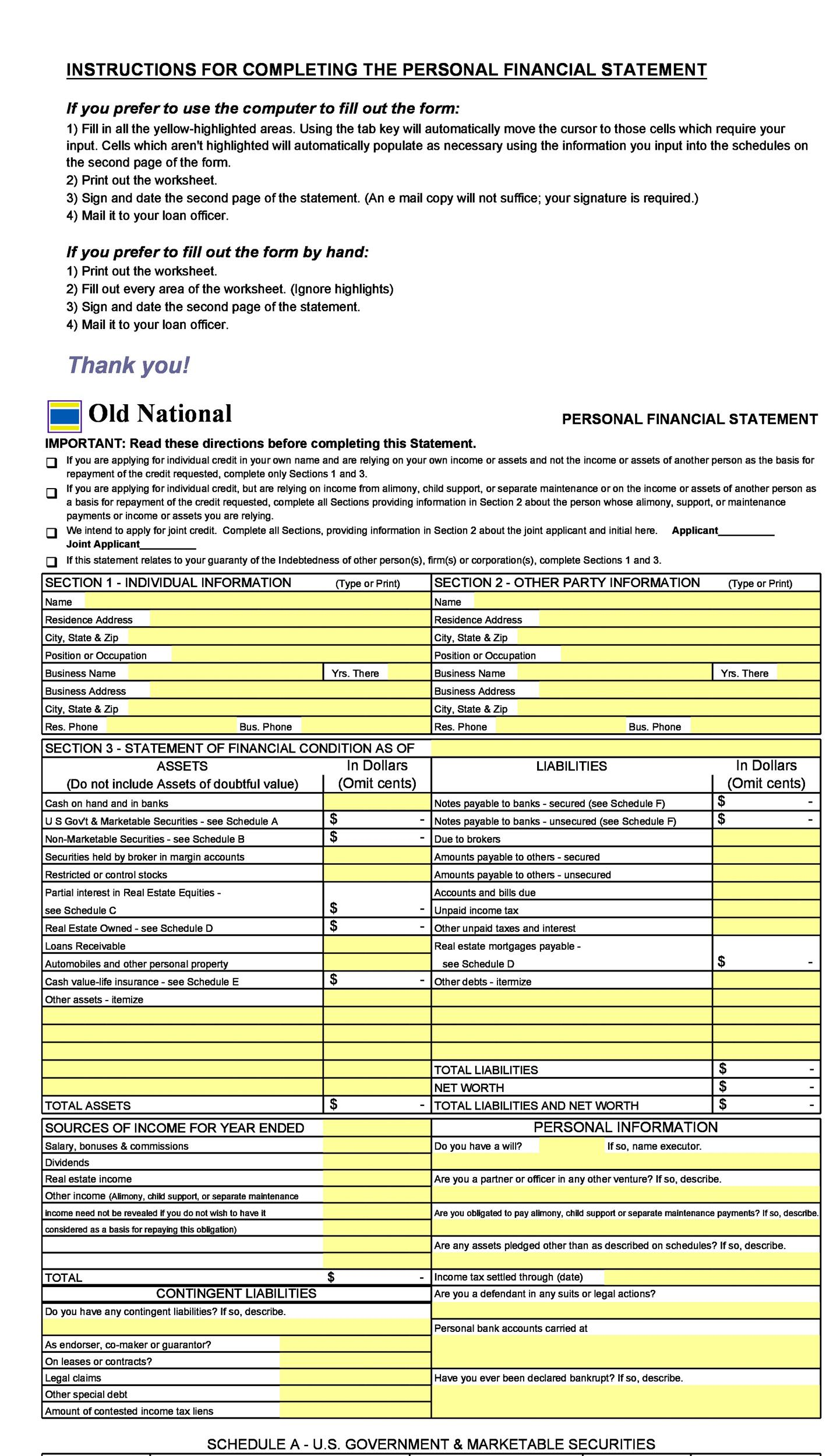 printable personal financial statement template 02 - Personal Financial Statement Forms