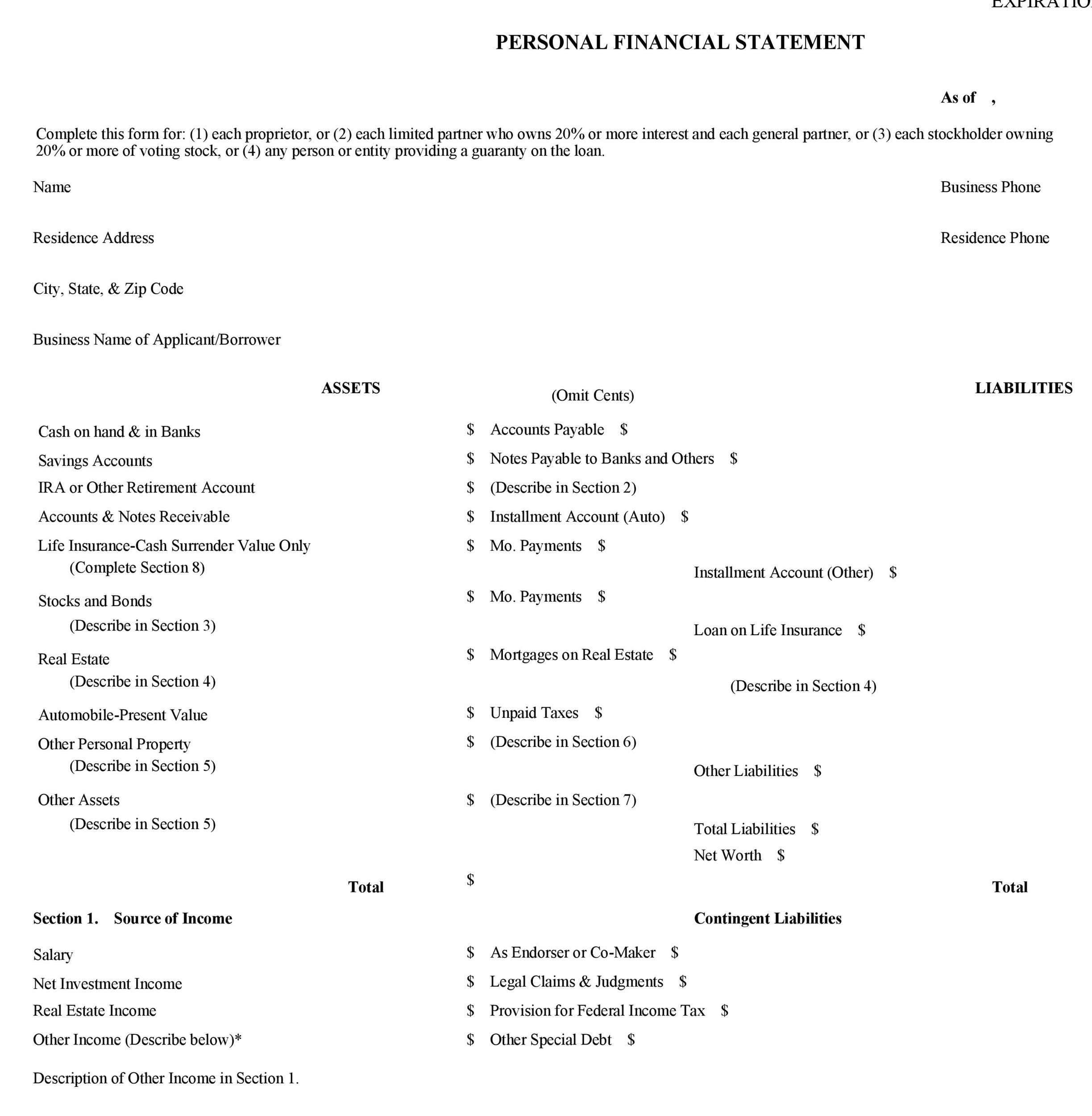 40 personal financial statement templates forms for Asset and liability statement template