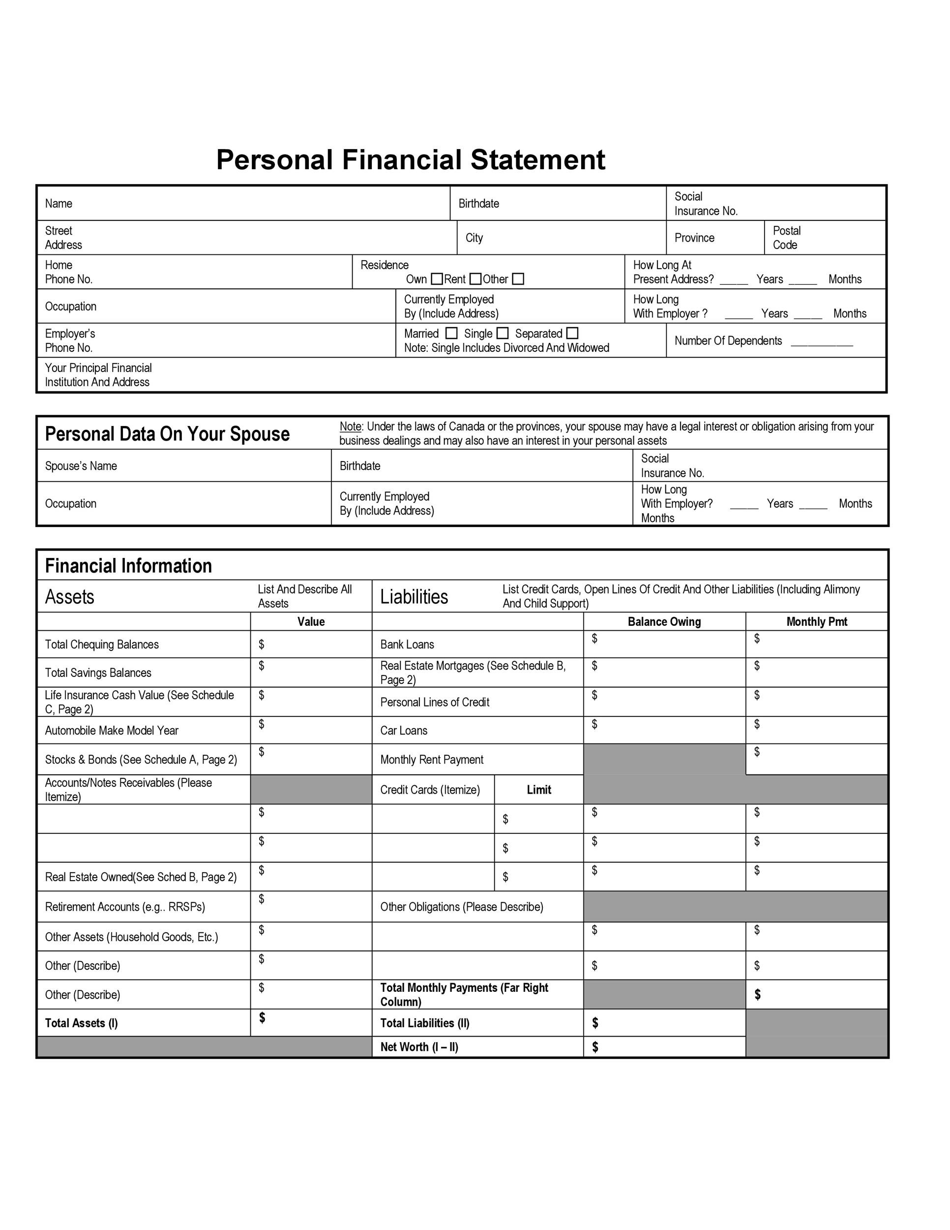 personal financial statement Create a personal financial statement in minutes using a step-by-step template a personal financial statement is a document or spreadsheet outlining an indi.