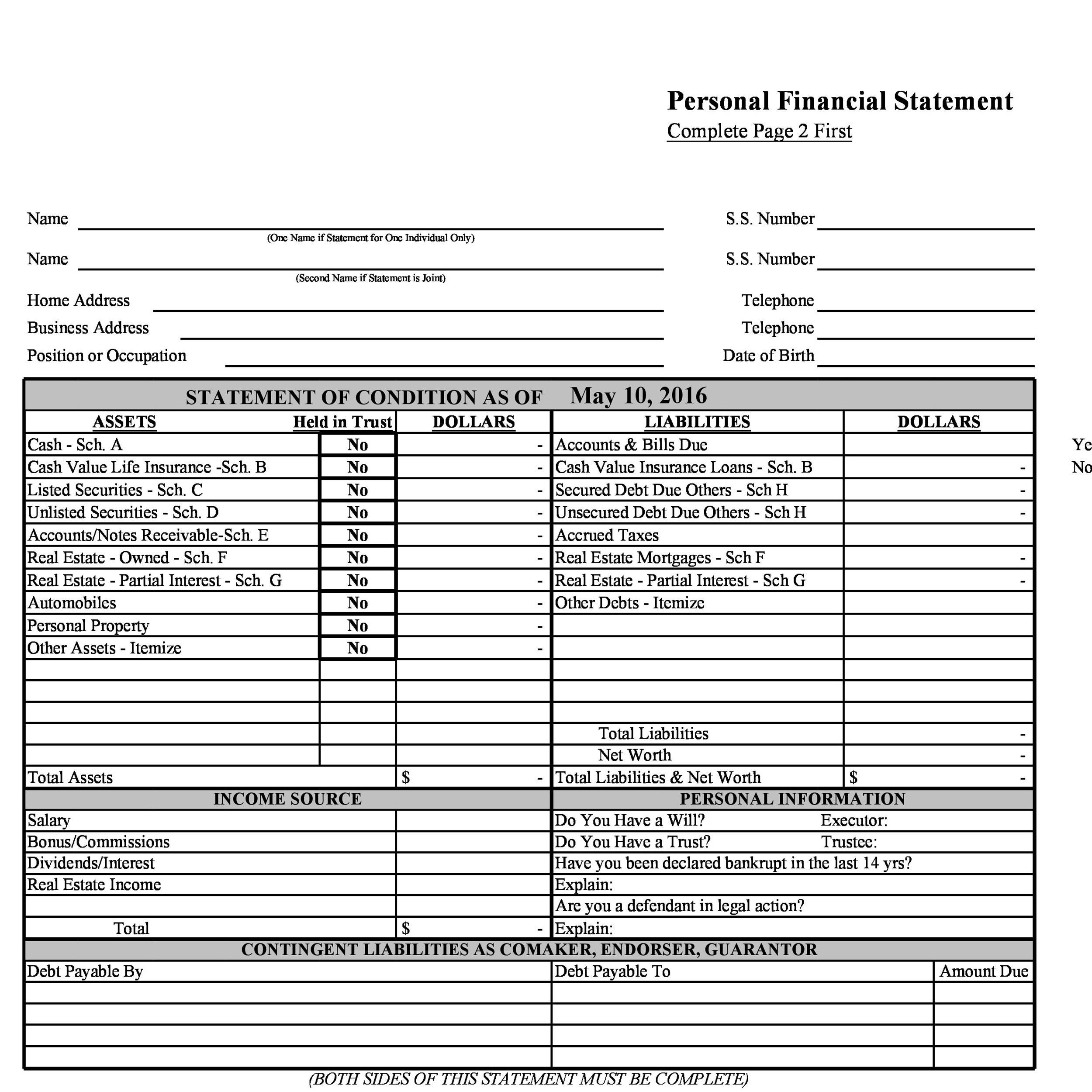 40 Personal Financial Statement Templates Forms Template Lab – Sample Personal Financial Statement Form