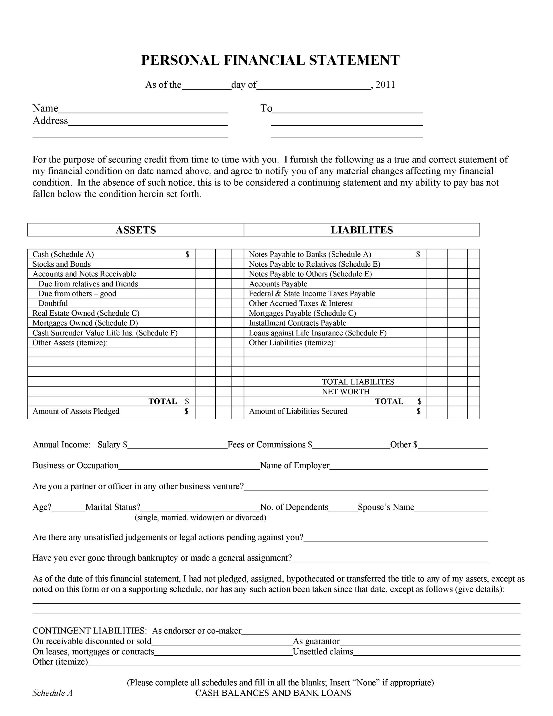 Sample Financial Statement Personal Financial Statement Form Sample