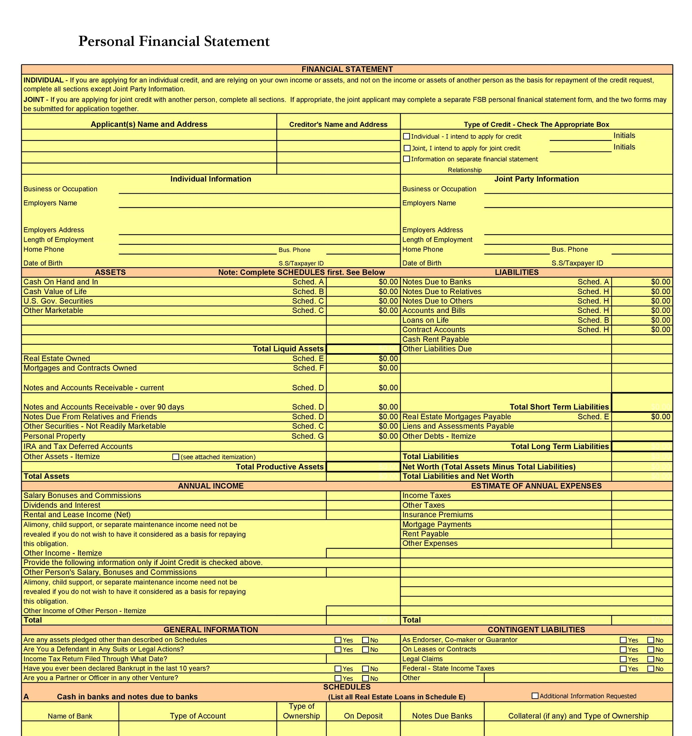Free Personal Financial Statement Template 30