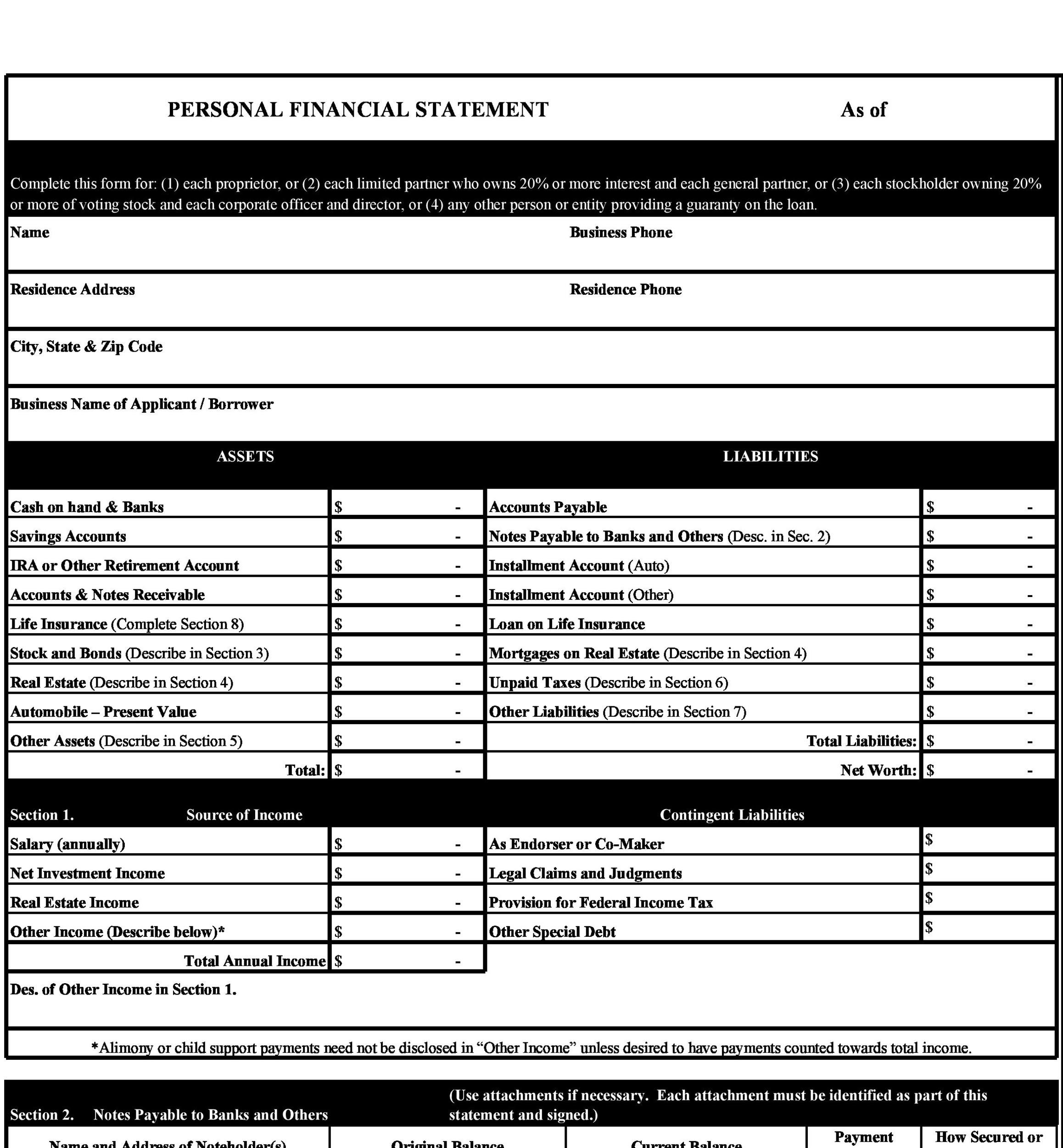 Free Personal Financial Statement Template 32