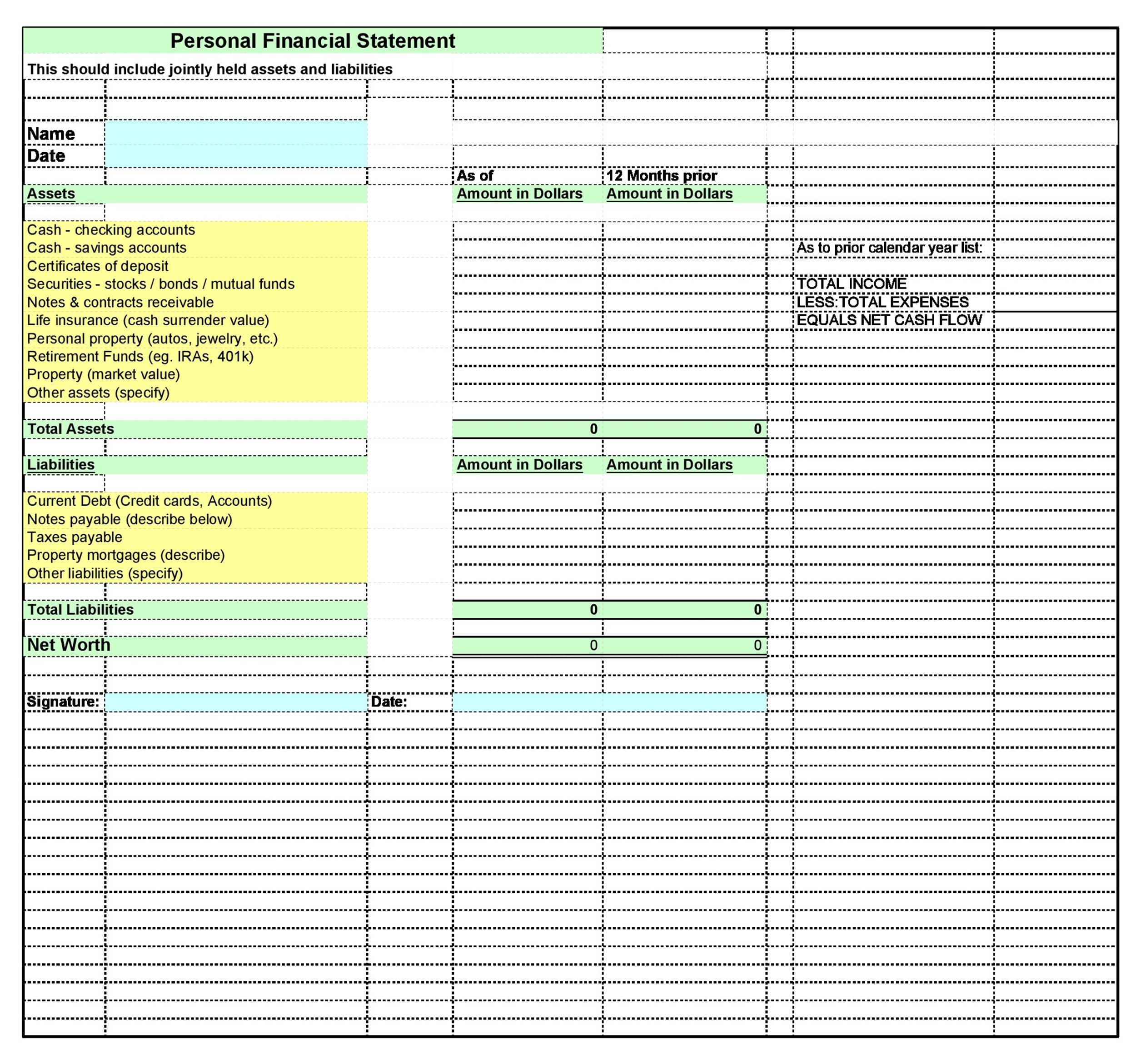 Sample Personal Financial Statement Example Example Personal