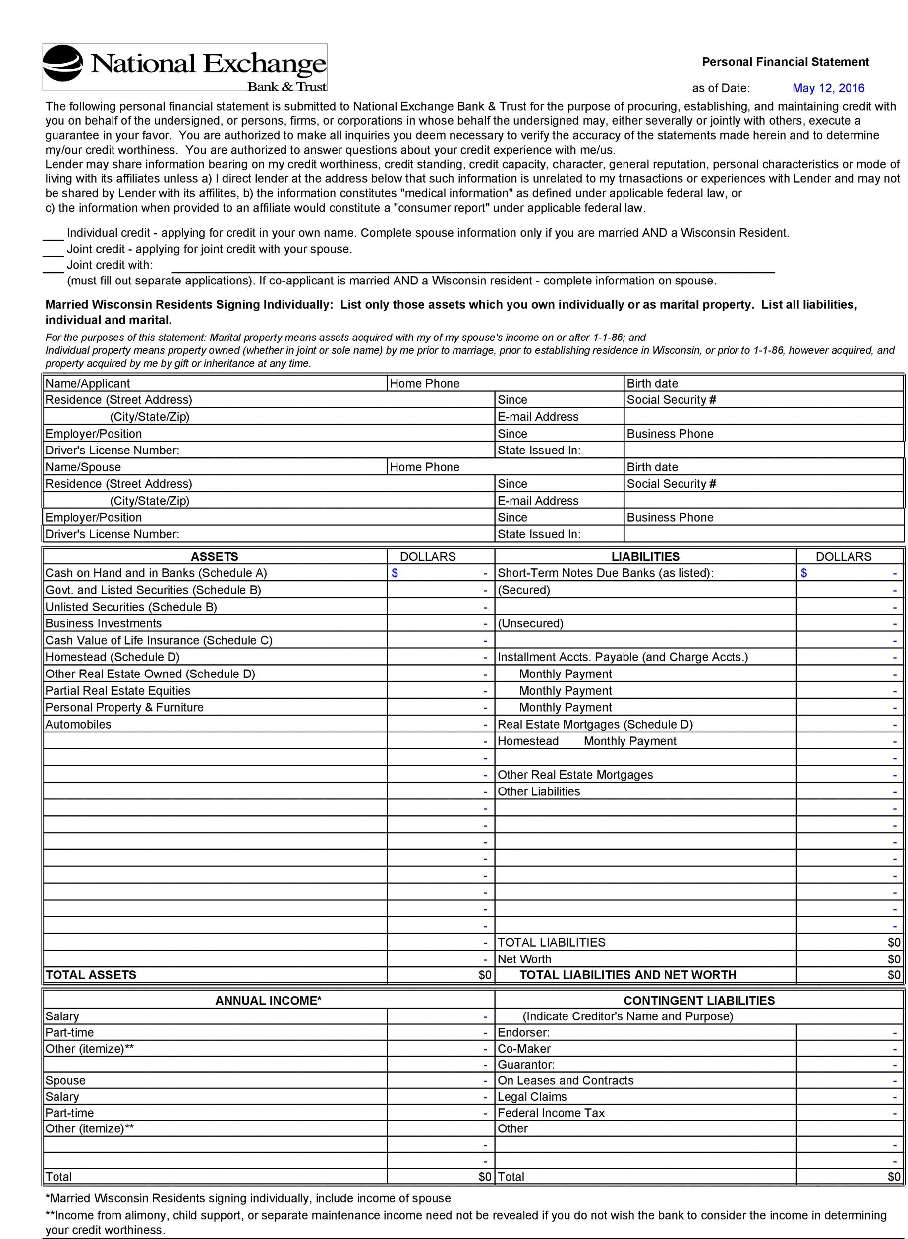 Free Personal Financial Statement Template 41