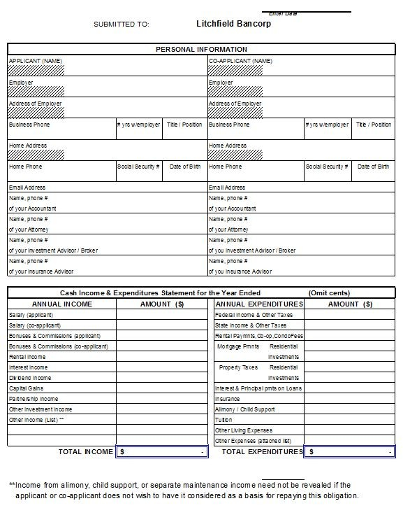 Free Personal Financial Statement Template 43