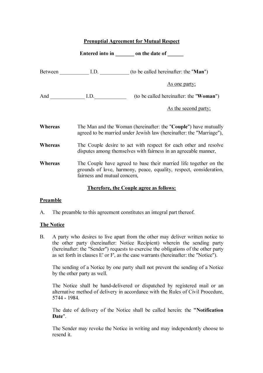 Free Printable Prenuptial Agreement Form Kivanyellowriverwebsitescom - Free printable documents