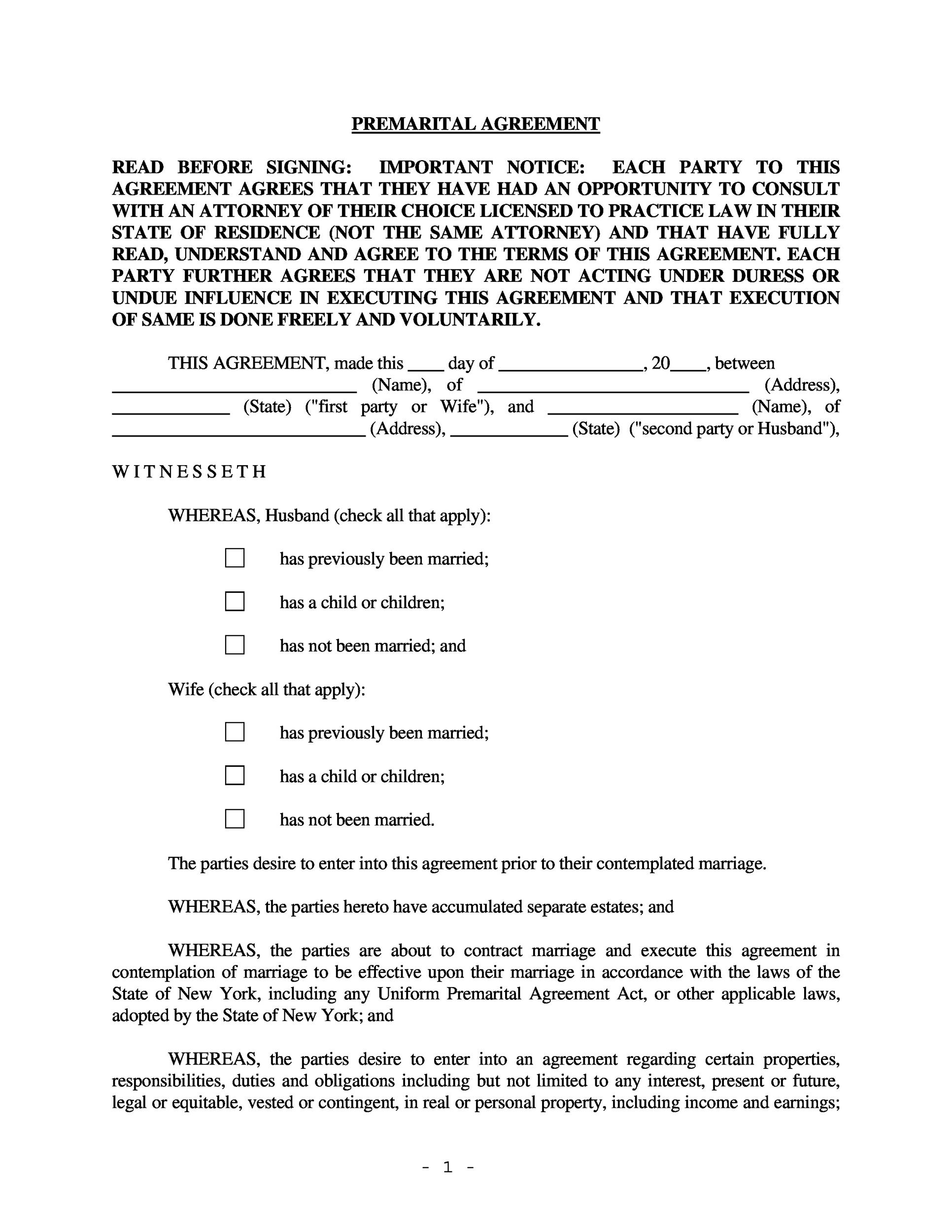 30 prenuptial agreement samples forms template lab