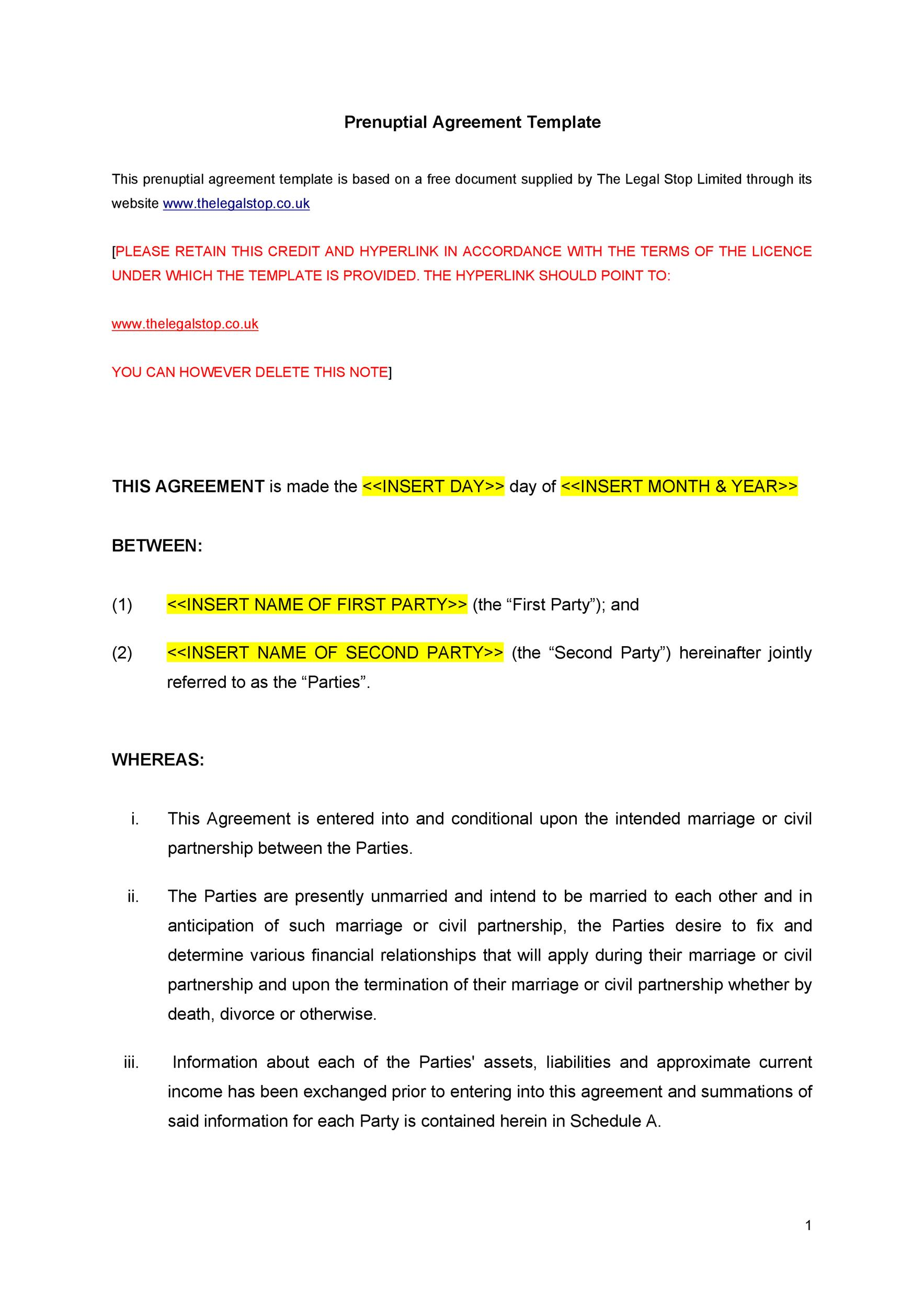 Free Prenuptial Agreement Template 10