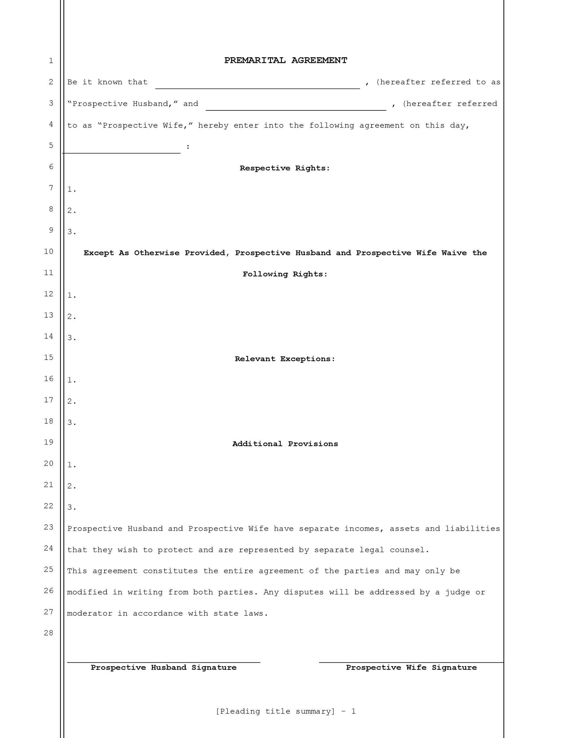 Free Prenuptial Agreement Template 11